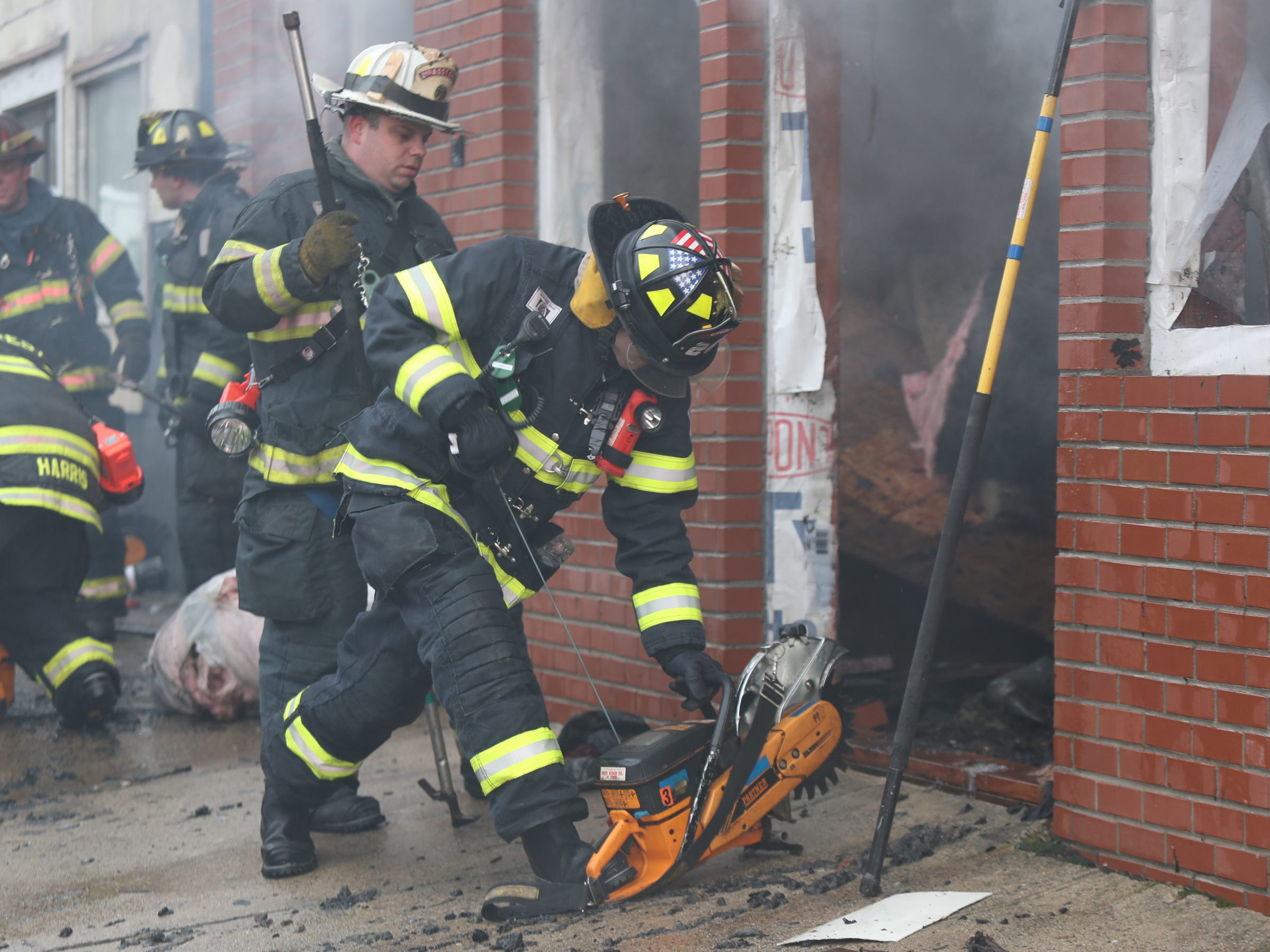 Fire departments from Spring Valley, Nanuet, Hillcrest, Tallman, West Nyack and Sloatsburg work to extinguish a fire at 30 Lawrence St. in Spring Valley on Thursday, January 17, 2019.