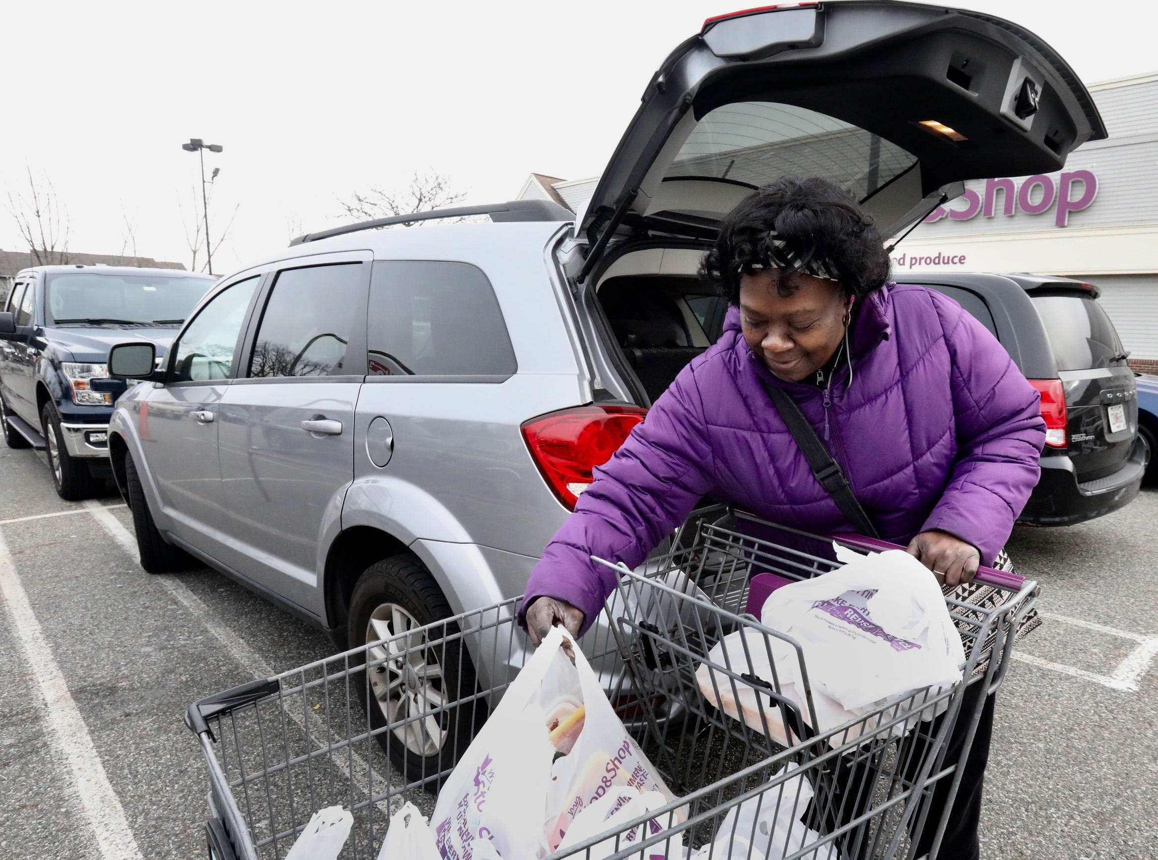 """I'm going to cook all weekend long. First, I'm going to thinly slice this pork loin and serve it with salad for dinner,"" says Joan Booker of Nanuet when shopping before the snowstorm at Stop&Shop in Nanuet Jan. 17, 2019."