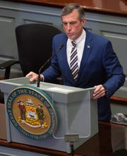Gov. John Carney gives his State of the State address in the Senate chambers on Jan. 17 in Dover.