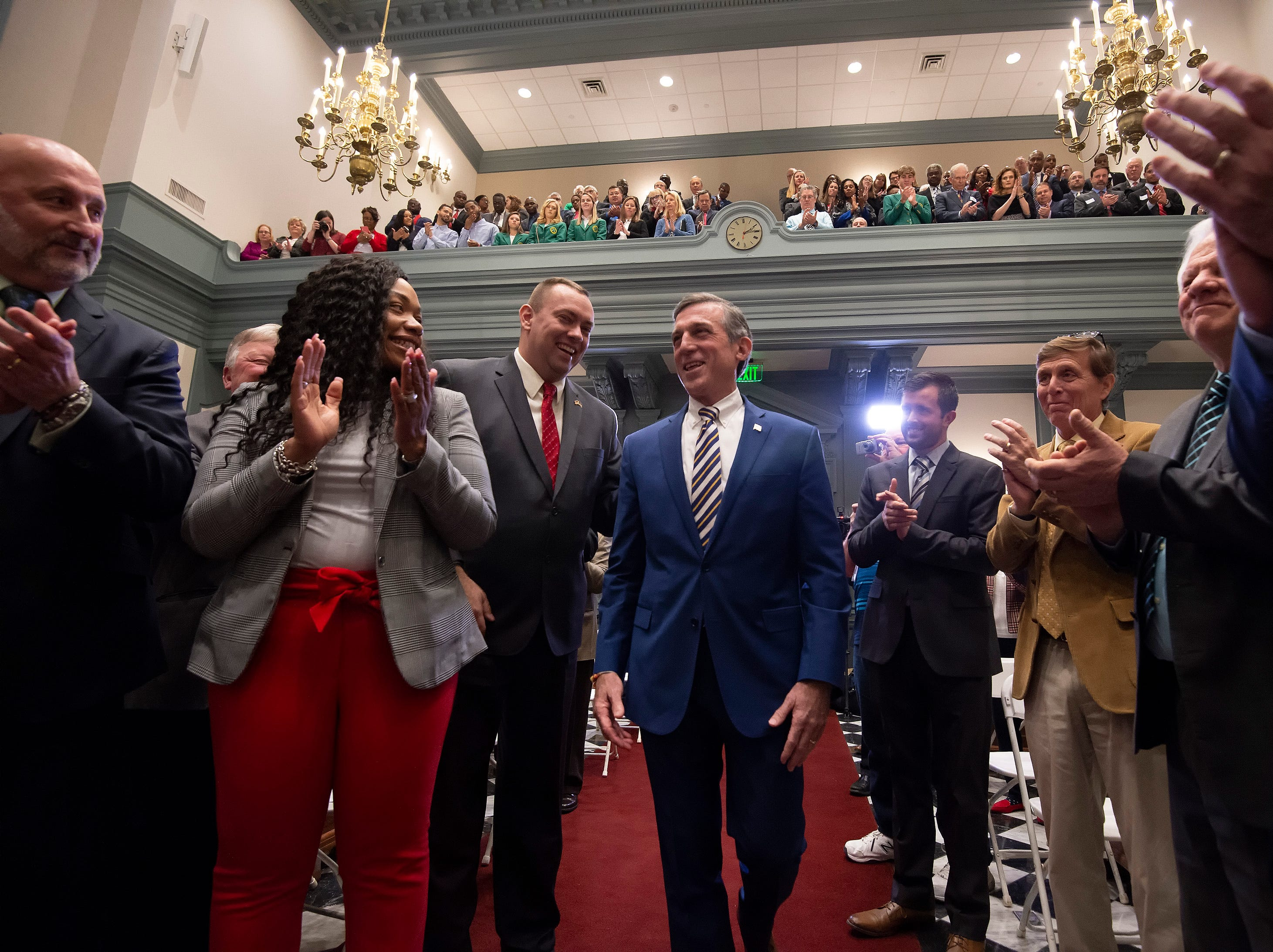Governor John Carney arrives inn the Senate Chambers to give his State of the State Address.