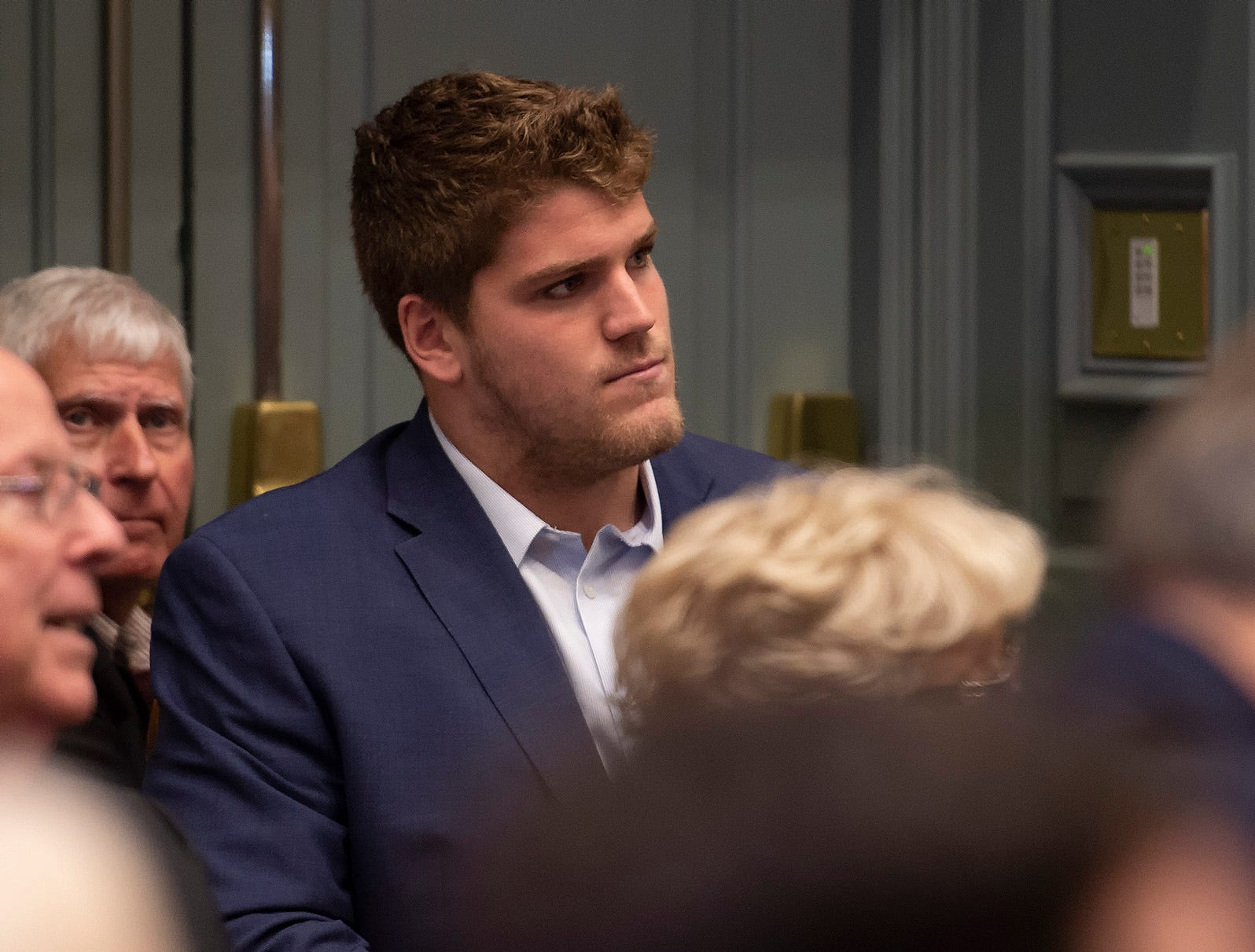 Brian O'Neill, a rookie with the Minnesota Vikings, and nephew of Governor John Carney in attendance during the  State of the State Address in the Senate Chambers.