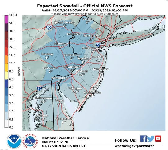 Parts of northern Delaware could see some snow overnight, but no more than an inch, according to weather forecasts.
