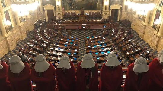 "Protesters dressed as handmaids from the television series ""Handmaid's Tale"" protested a 20-week abortion ban in the Pa. General Assembly in 2017."