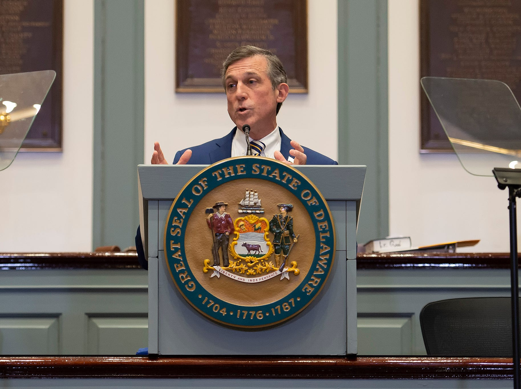 Governor John Carney gives his State of the State Address in the Senate Chambers.