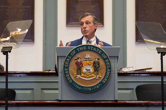 Governor John Carney gives his State of the State Address in the Senate Chambers in January.