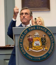 Delaware Gov. John Carney gives his State of the State Address in the Senate chamber at Legislative Hall.