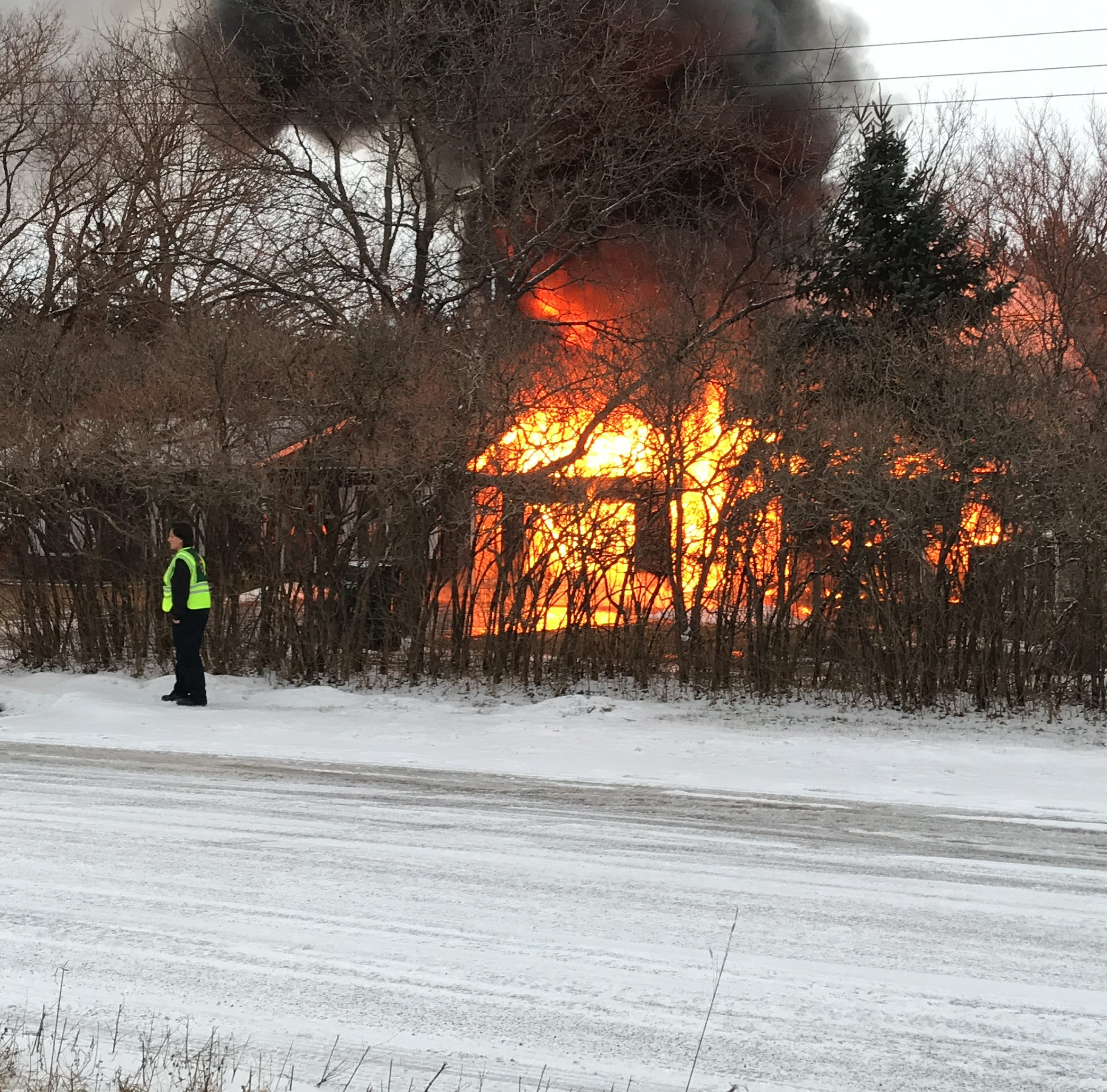 Large fire erupts near State 54 in Plover, building engulfed