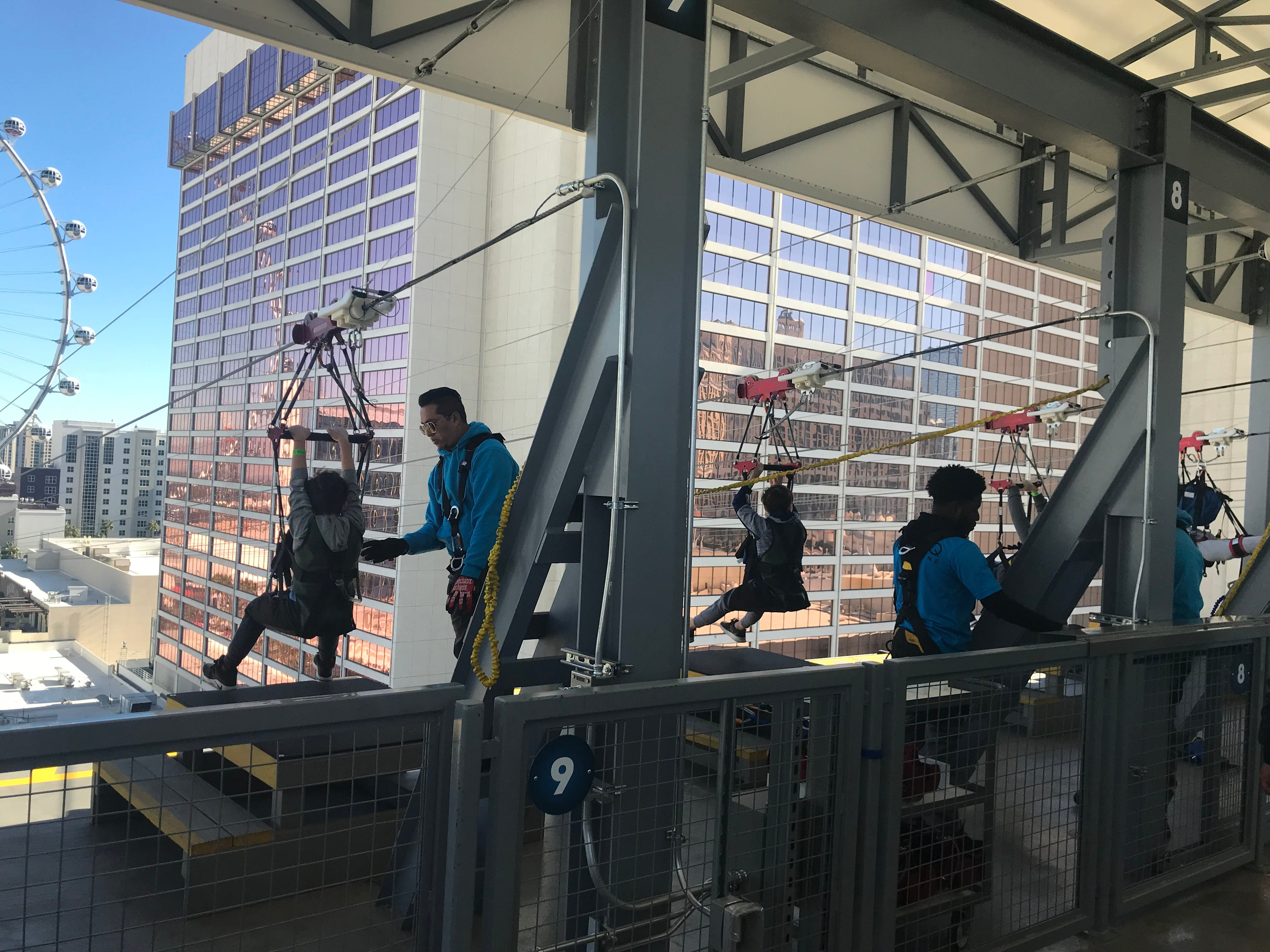 Visitors to the Fly Linq zipline have two options: seated or superhero style.