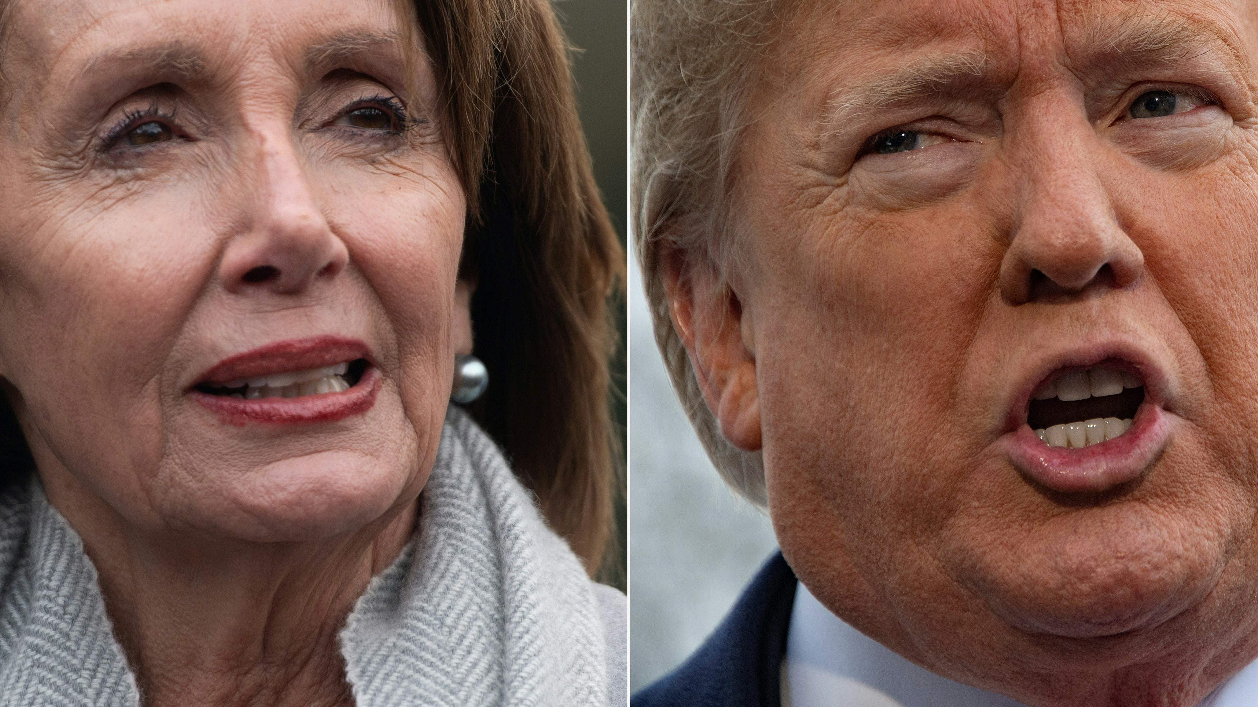 "(COMBO) This combination of pictures created on January 17, 2019 shows a file photo taken on January 9, 2019 of US Speaker of the House Nancy Pelosi following a meeting with US President Donald Trump about the partial government shutdown at the White House in Washington, DC, and US President Donald Trump speaking to the media as he departs the White House in Washington, DC, on January 14, 2019. - President Donald Trump clipped the wings of Democratic party leader Nancy Pelosi on January 17, 2019, scrapping her foreign travel plans in a new twist to the government shutdown feud. Pelosi had suggested postponing Trump's January 29 State of the Union address to Congress. Although she cited the shutdown's effect on security, she appeared to want to deny the president one of his chief annual moments in the limelight.In a letter laced with sarcasm and accompanied by his dramatic signature, Trump responded in kind. ""I am sorry to inform you that your trip to Brussels, Egypt, and Afghanistan has been postponed. We will reschedule this seven-day excursion when the Shutdown is over,"" he wrote. ""I am sure you would agree that postponing this public relations event is appropriate."" (Photos by SAUL LOEB and Jim WATSON / AFP)SAUL LOEB,JIM WATSON/AFP/Getty Images ORIG FILE ID: AFP_1CC4QV"