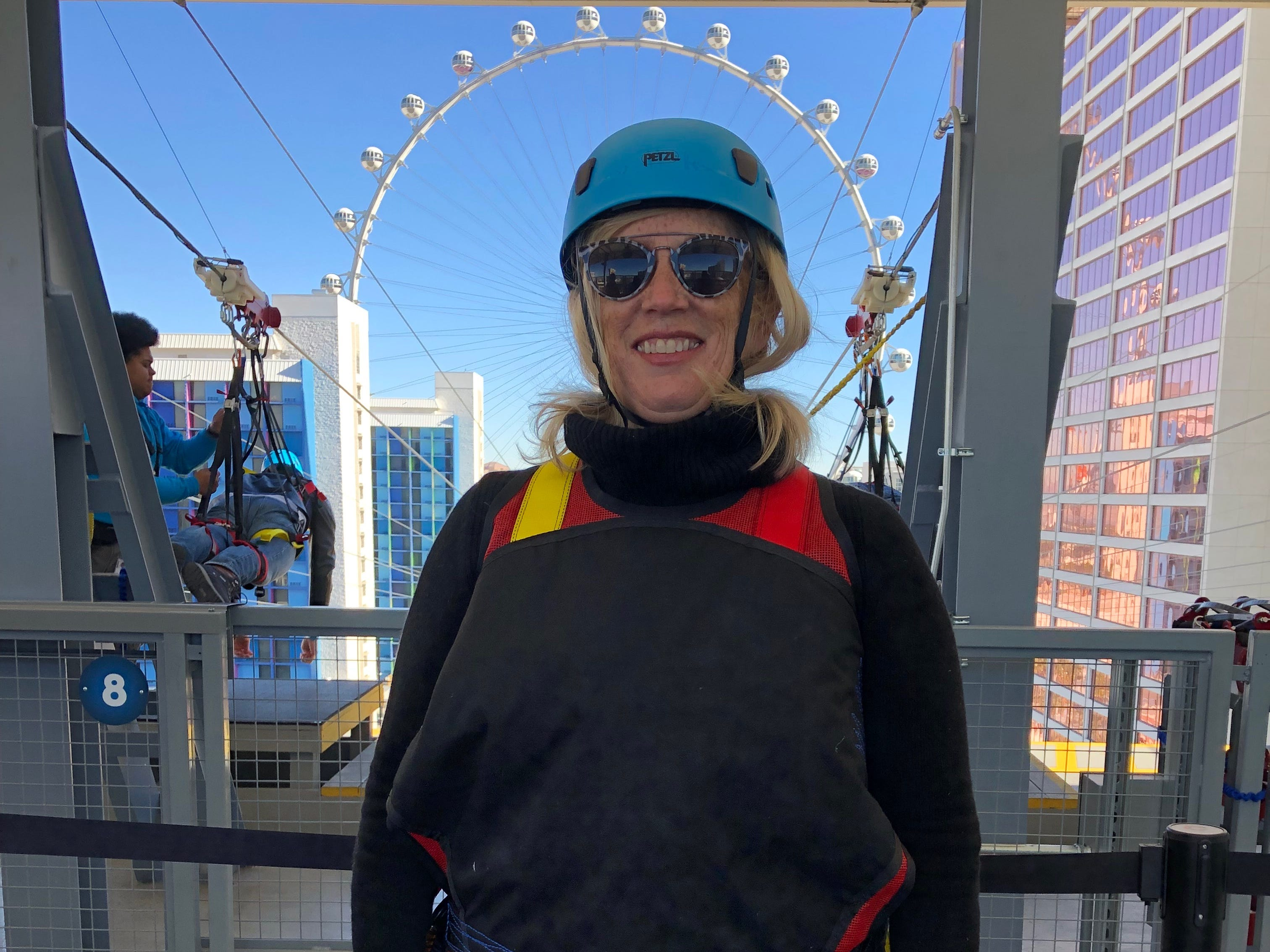 USA TODAY travel reporter Dawn Gilbertson ready to ride the new Fly Linq zipline on the Las Vegas Strip.