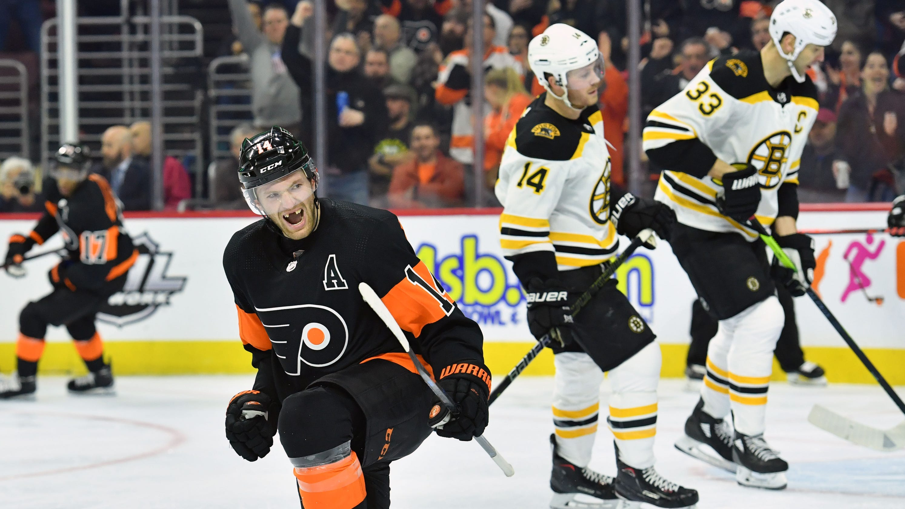 8f3cf750fd1 Sean Couturier nets first regular-season hat trick as last-place Flyers  upend Bruins
