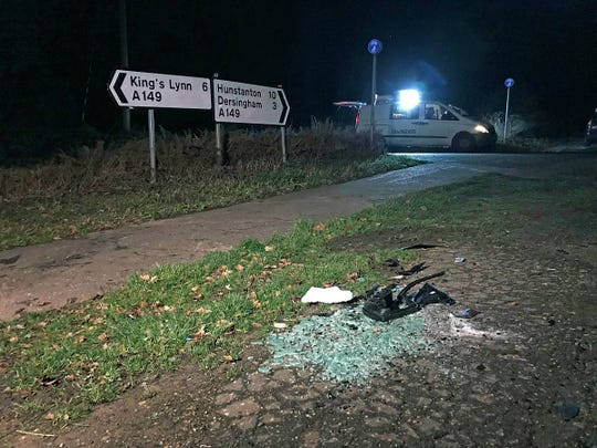 The scene near to the Sandringham Estate where Britain's Prince Philip was involved in a road accident in Sandringham, England.