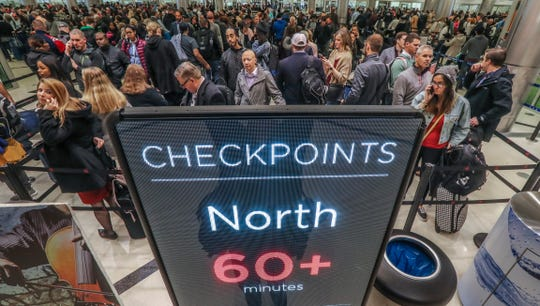 Security lines at Hartsfield-Jackson International Airport in Atlanta stretch more than an hour long on Jan. 14, 2019, during the government shutdown.