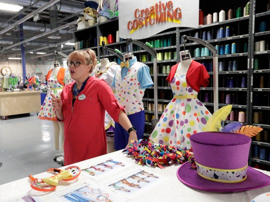 Harmony McChesney, costume designer discusses the work that goes in to creating costumes at Walt Disney World on Jan. 9, 2019 in Lake Buena Vista, Fla. Durability is a must since the costumes worn by dancers, singers and costumed characters are washed every day.