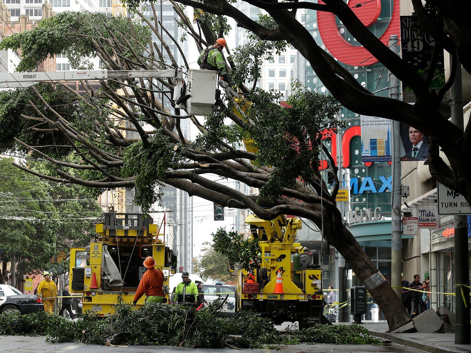 A work crew removes branches from a tree on Mission Street in San Francisco, Thursday, Jan. 17, 2019.