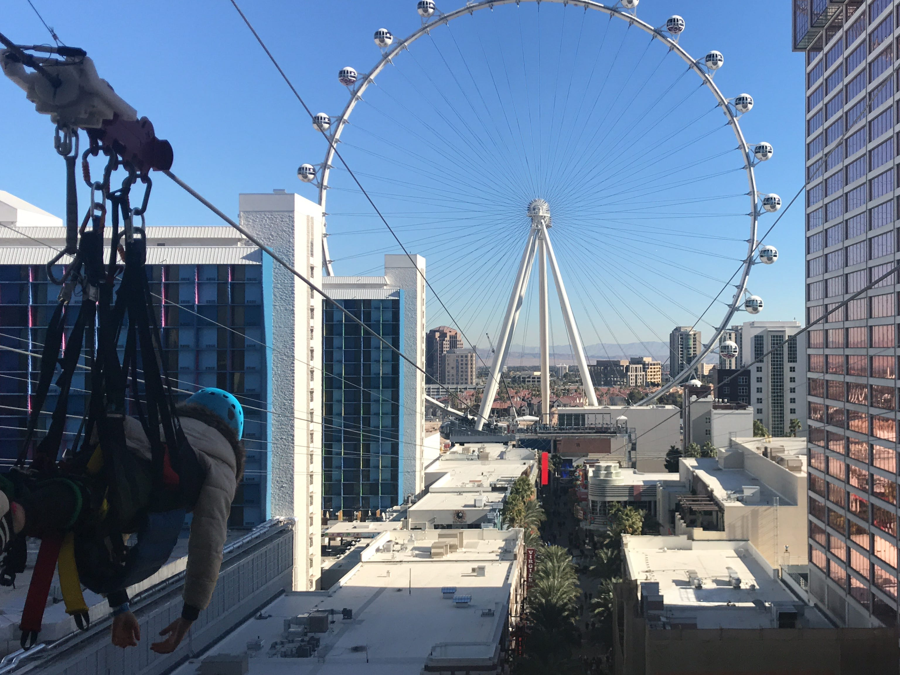The new Fly Linq zipline between the Linq and Flamingo hotels on the Las Vegas Strip.