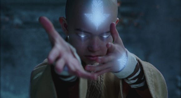"Noah Ringer plays magical kid Aang in ""The Last Airbender."""