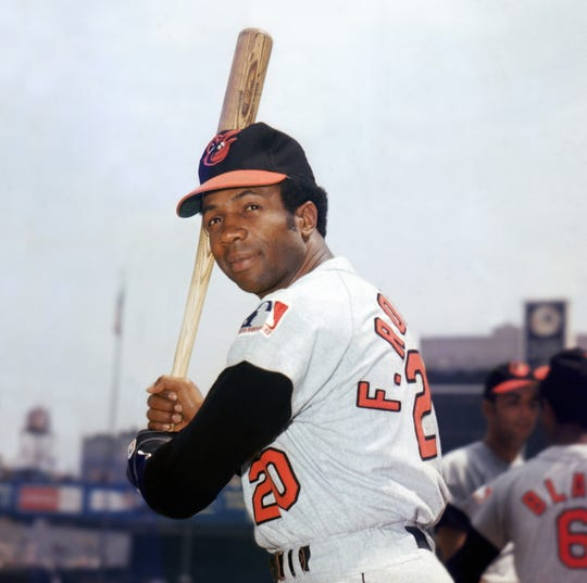 Frank Robinson slugged 586 home runs before he retired in 1976, the fourth-highest total at the time.
