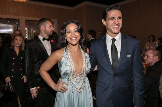Gina Rodriguez and Joe LoCicero attend the 76th Golden Globe Awards together on January. 6.