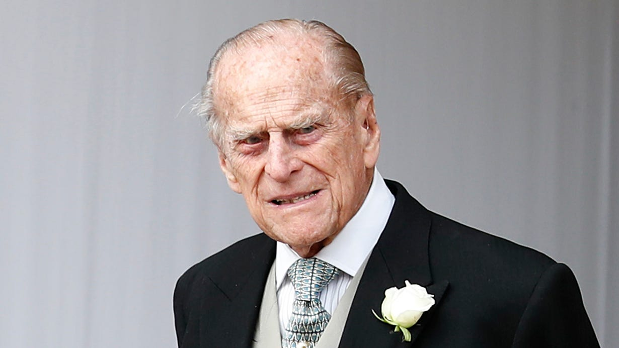 Prince Philip attends the wedding of his granddaughter Princess Eugenie of York to Jack Brooksbank at St. George's Chapel on Oct. 12, 2018 in Windsor.