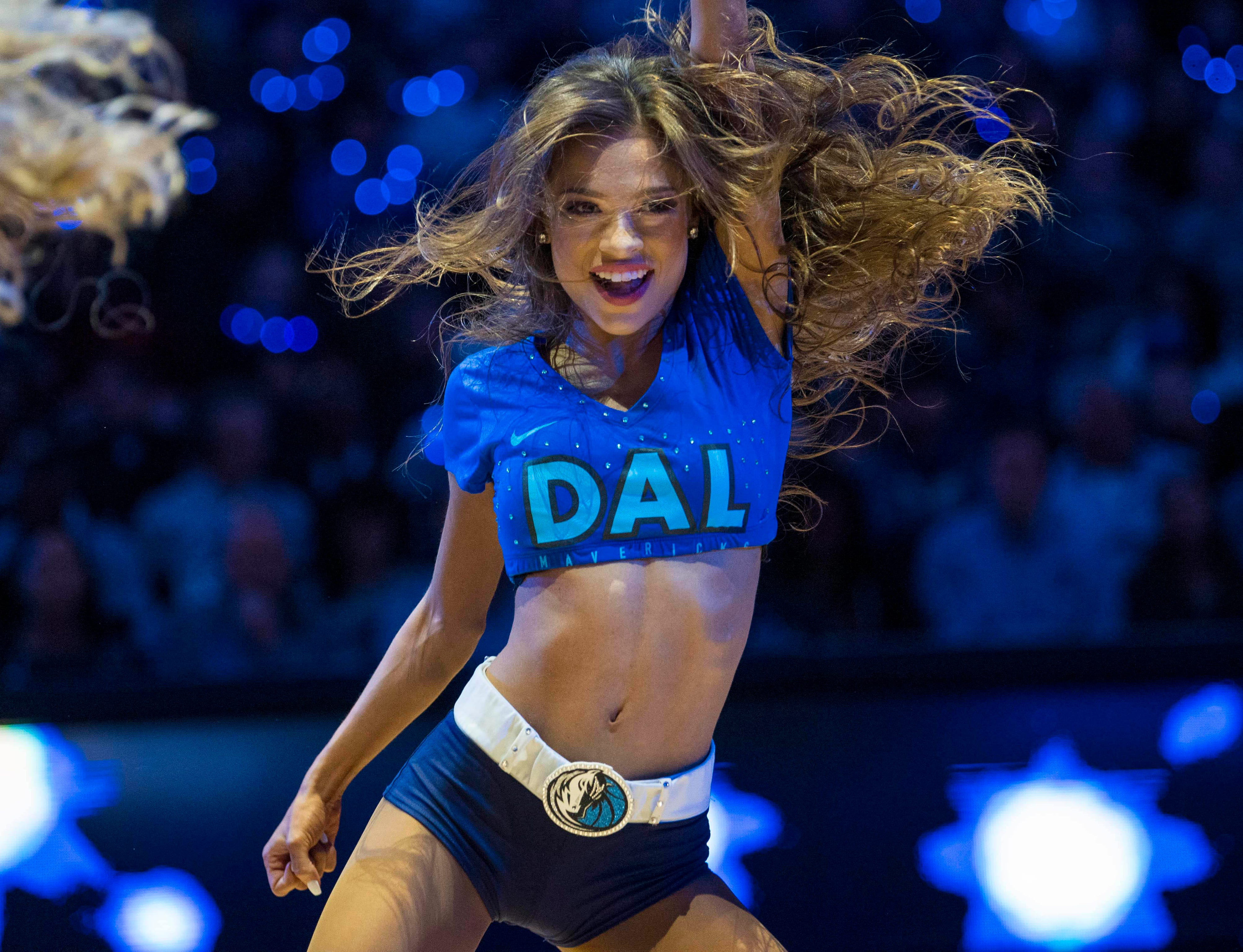 Jan. 16: Mavericks dancers fire up the crowd during a stop in play against the Spurs.