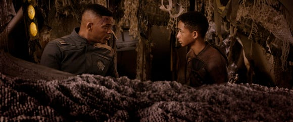 "Will Smith (left) and Jaden Smith play a father and son trying to stay alive in ""After Earth."""