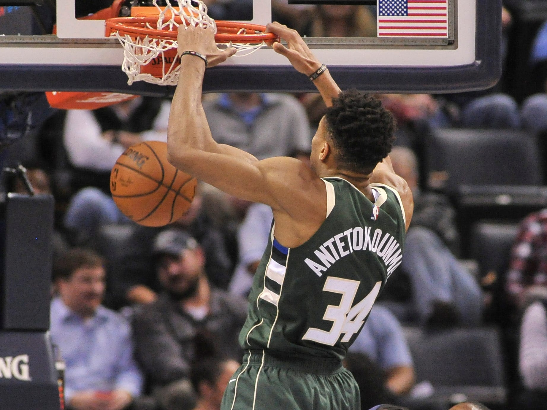 Jan. 16: Bucks forward Giannis Antetokounmpo (34) throws down the two-handed slam during the first half against the Grizzlies in Memphis.