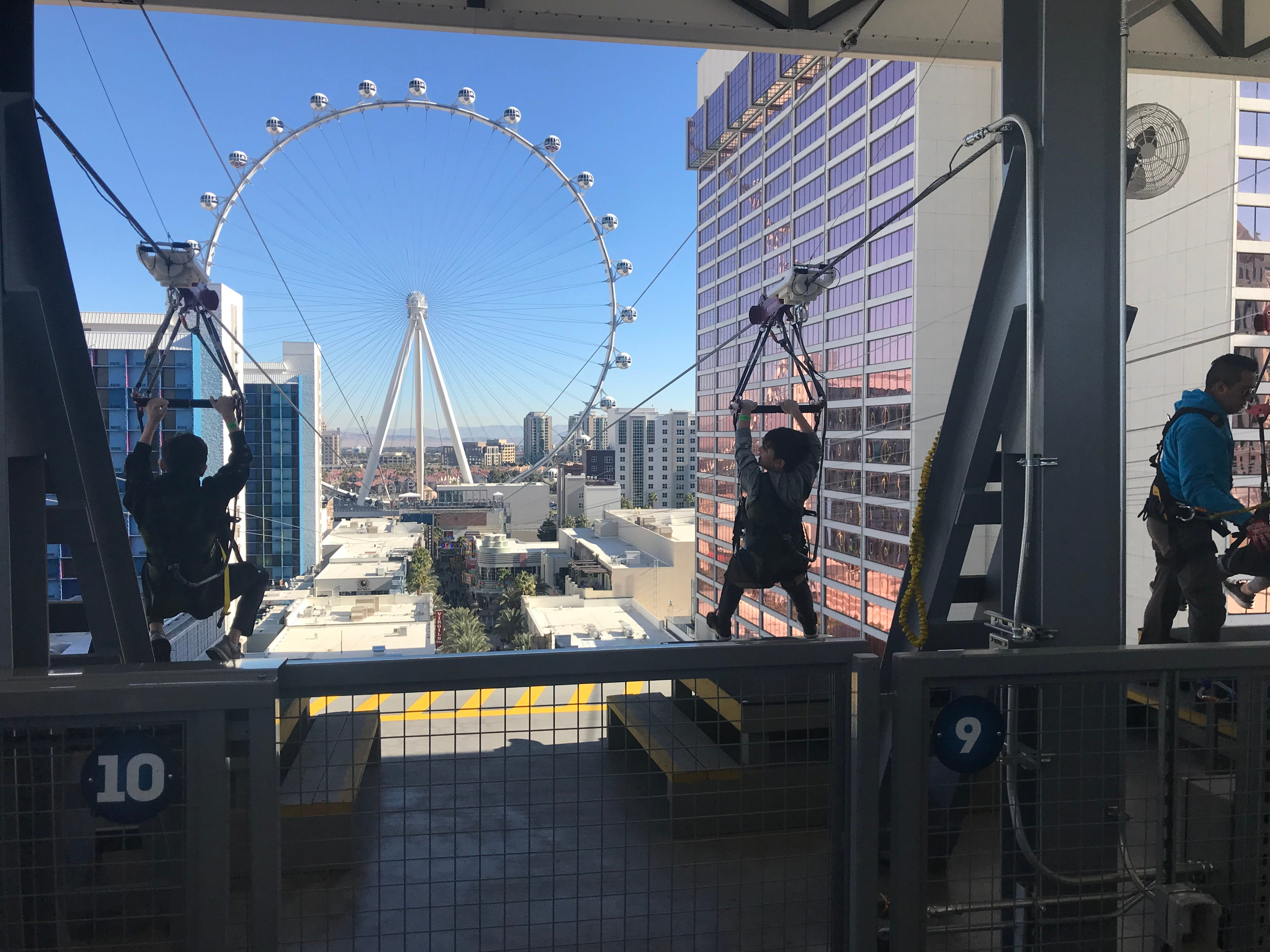 The Fly Linq zipline opened on the Linq promenade in Las Vegas in November 2018.