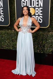 Gina Rodriguez hits the red carpet at the Golden Globe Awards earlier this month.
