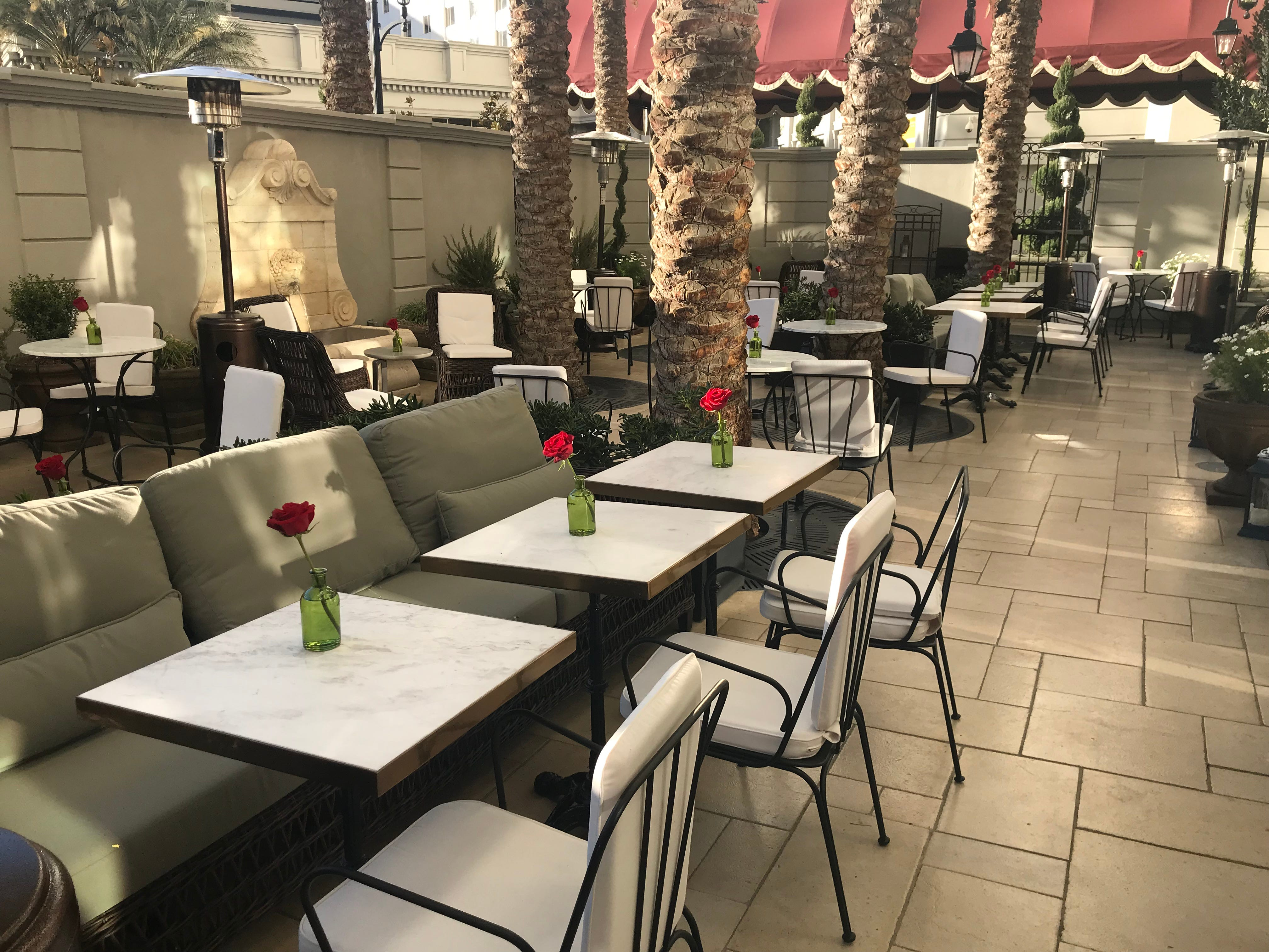Patio at NoMad Bar, a restaurant and bar at the new NoMad Las Vegas hotel on the grounds of the Park MGM.