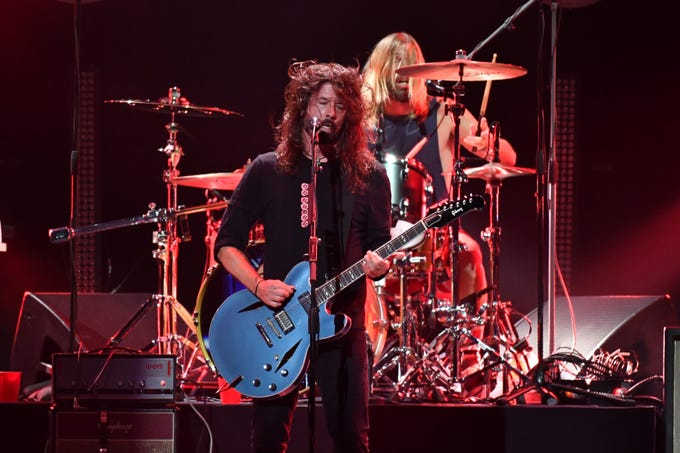 More of Dave Grohl and Taylor Hawkins of the Foo Fighters performance.