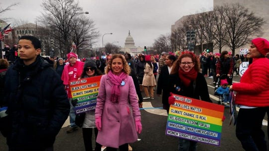 Rep. Debbie Wasserman Schultz in the Washington Women's March, January 2017.