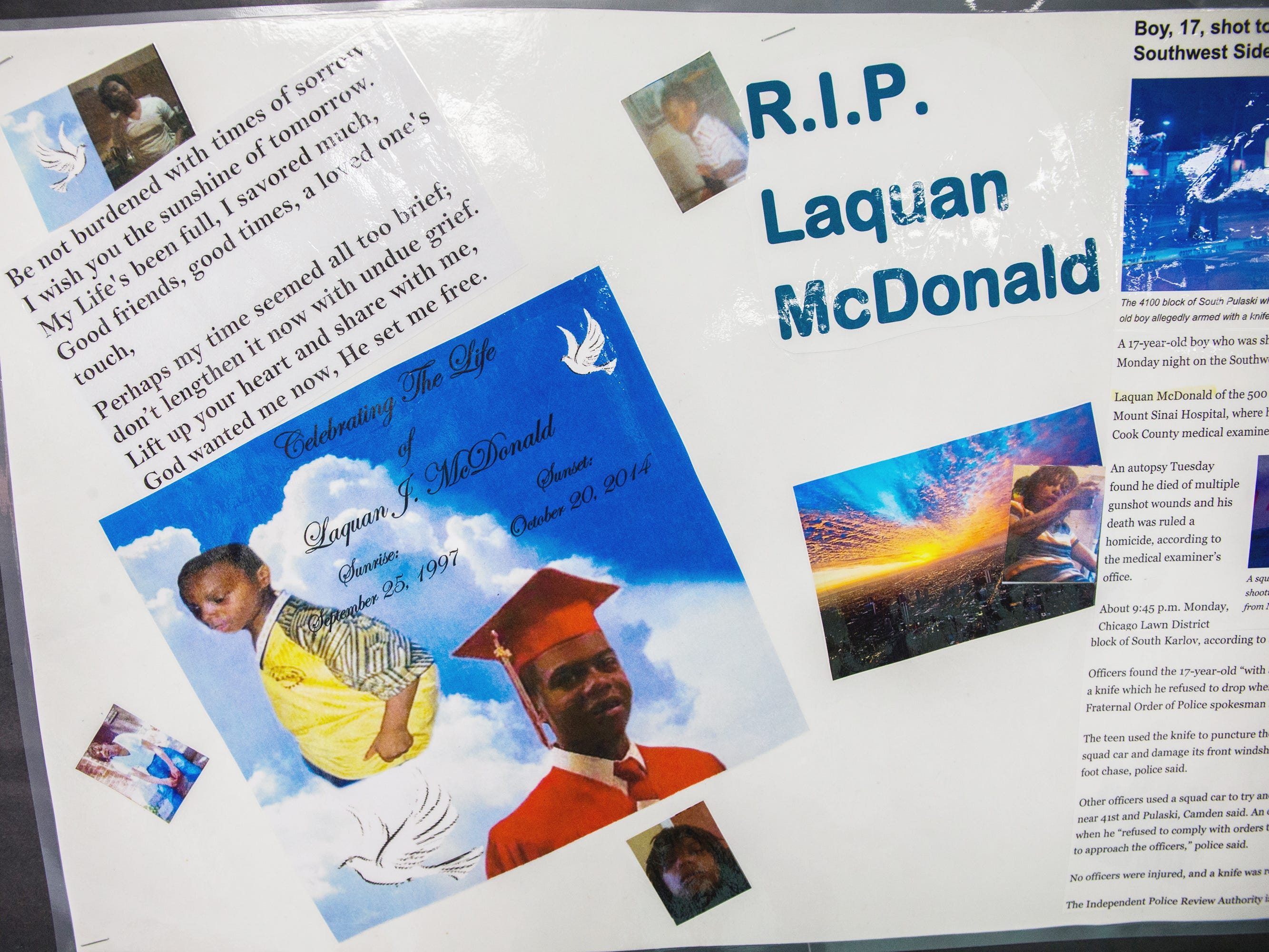 A memorial to 17-year-old Laquan McDonald and other victims of violence at the Sullivan House Alternative High School in Chicago is seen on April 17, 2015. McDonald was shot 16 times by Chicago police Officer Jason Van Dyke in October 2014. A judge has ordered the video of the shooting to be made public.
