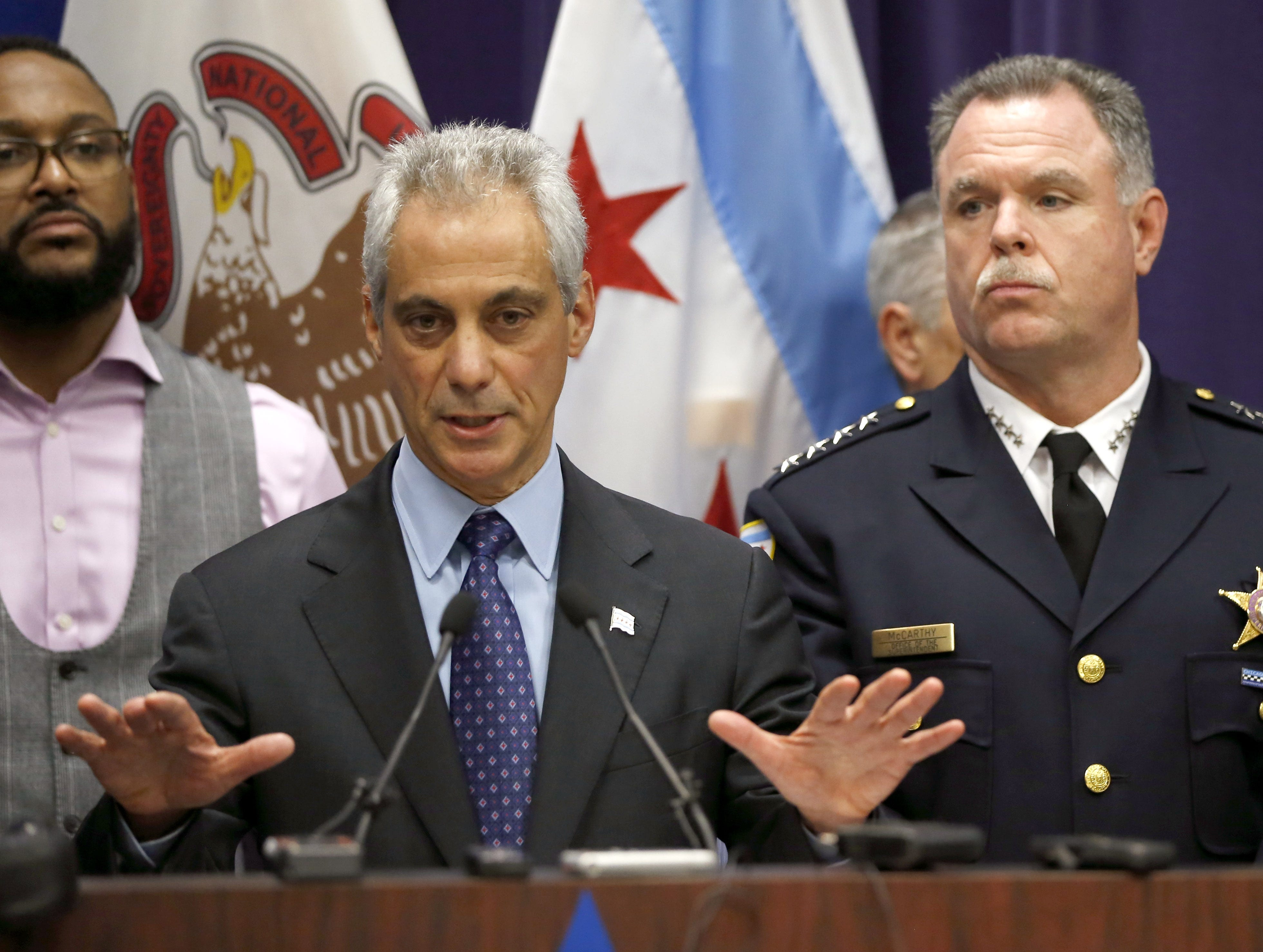 Chicago Mayor Rahm Emanuel, left, and Police Superintendent Garry McCarthy appear at a news conference, Tuesday, Nov. 24, 2015, in Chicago, announcing first-degree murder charges against police officer Jason Van Dyke in the Oct. 24, death of 17-year-old Laquan McDonald. The city then released the dash-cam video of the shooting to media outlets after the news conference.