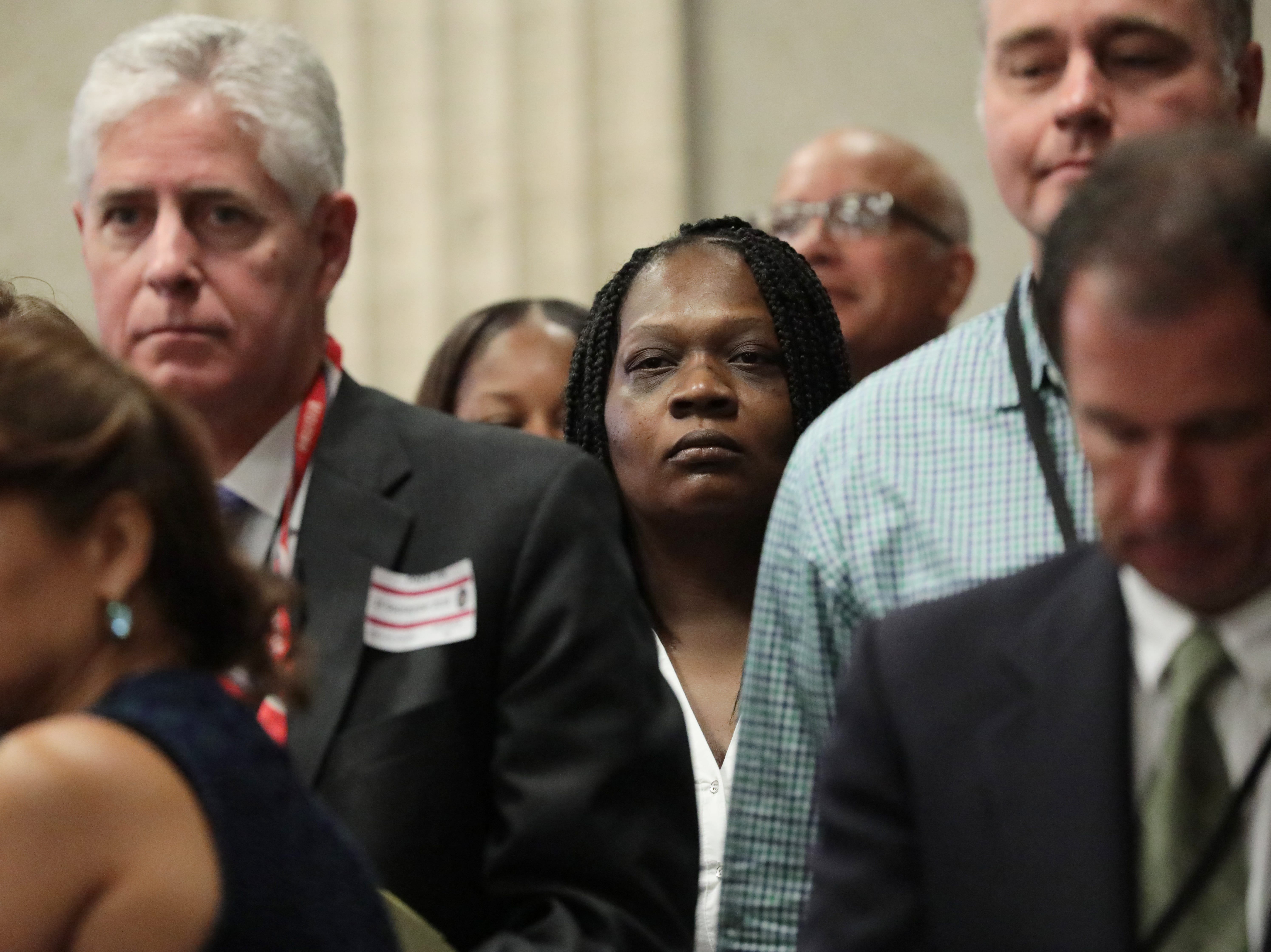 Tina Hunter, mother of Laquan McDonald, watches during the murder trial of Chicago police Officer Jason Van Dyke at the Leighton Criminal Court Building Sept. 24, 2018 in Chicago, Illinois. Van Dyke is charged with shooting and killing 17-year-old McDonald, who was walking away from police down a street holding a knife four years ago.