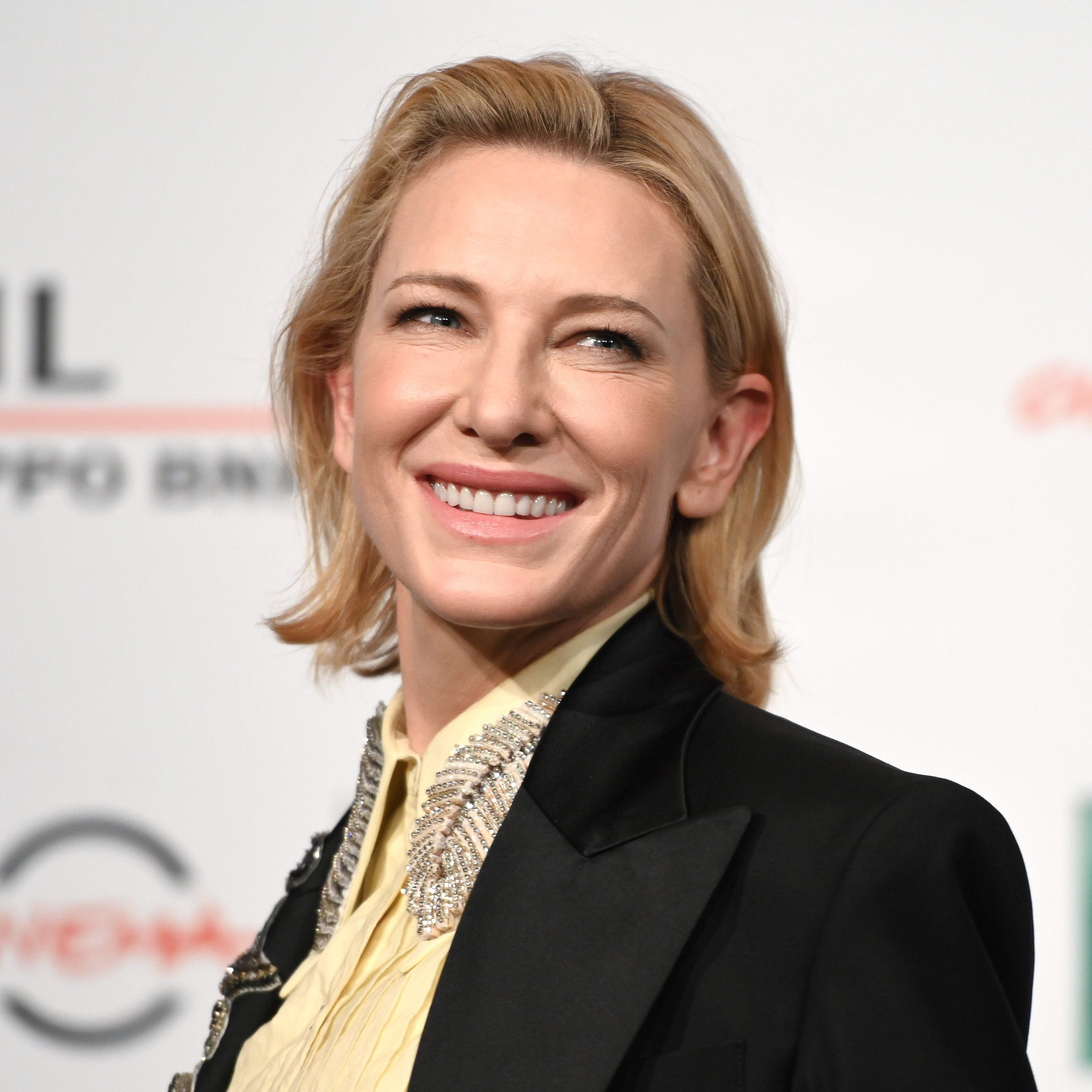 "Australian actress Cate Blanchett smiles while posing during the photocall of the movie ""The House With a Clock in Its Walls"" on October 19, 2018 at the Auditorium Parco della Musica in Rome. (Photo by Alberto PIZZOLI / AFP)ALBERTO PIZZOLI/AFP/Getty Images ORIG FILE ID: AFP_1A52Z5"