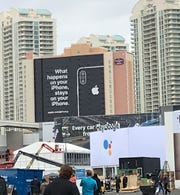 Apple posted privacy posters around CES in Las Vegas.