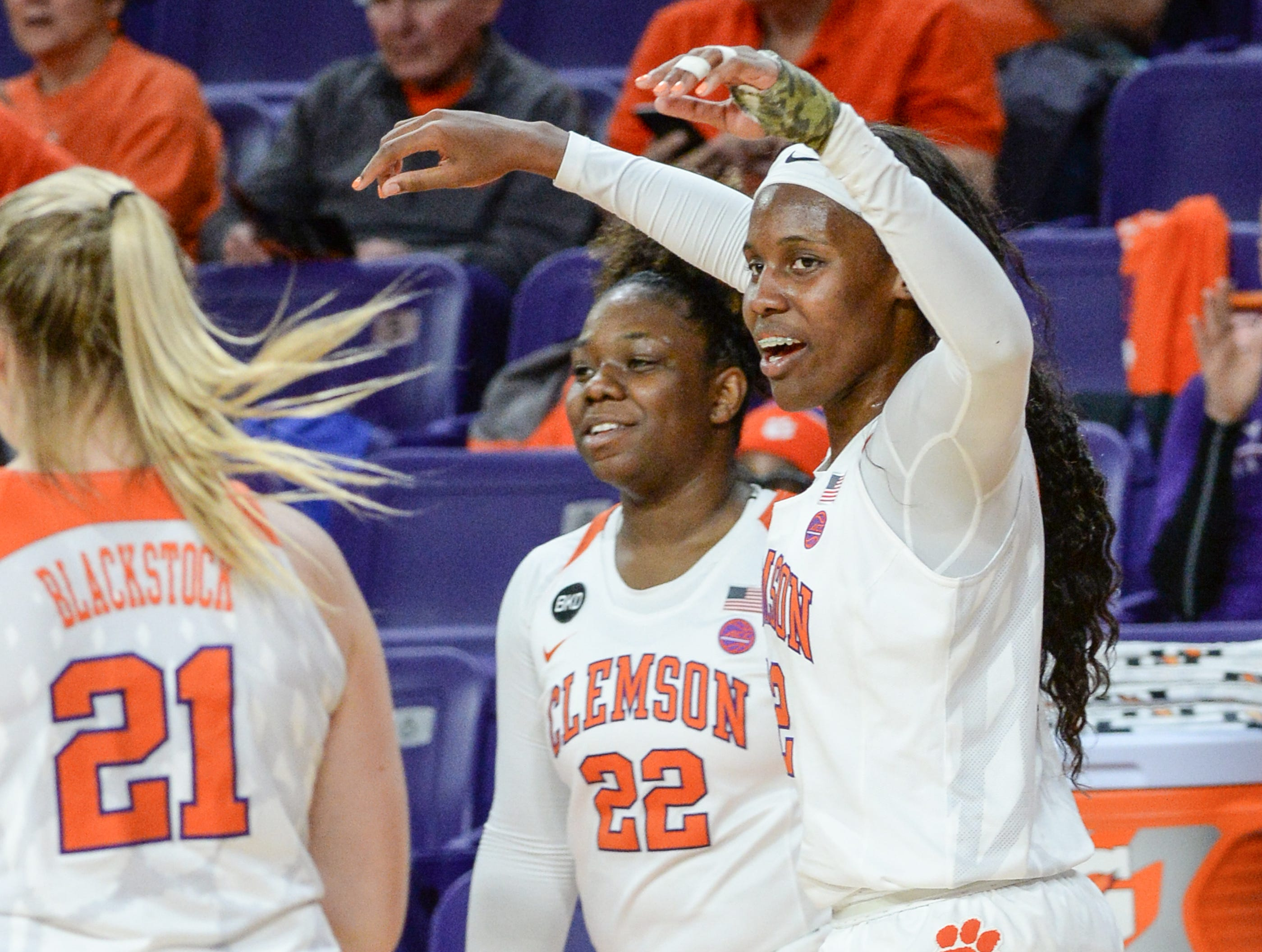 Clemson guard Aliyah Collier(12) celebrates with teammates a 71-61 win over Georgia Tech after the gameat Littlejohn Coliseum in Clemson on Thursday, January 17, 2019.