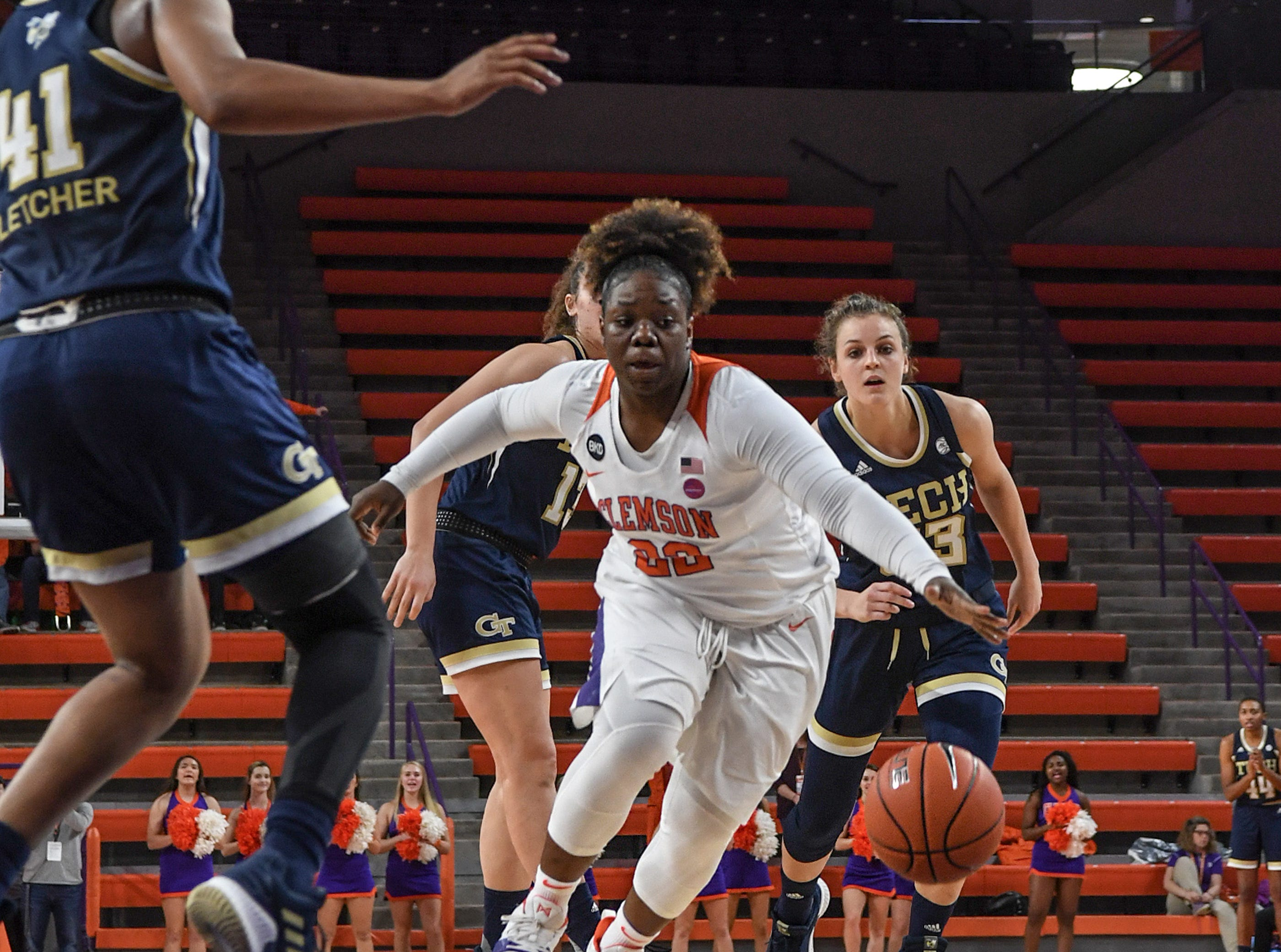 Clemson guard Keniece Purvis(22) dribbles near Georgia Tech guard Kierra Fletcher(41) during the fourth quarter at Littlejohn Coliseum in Clemson Thursday, January 17, 2019.