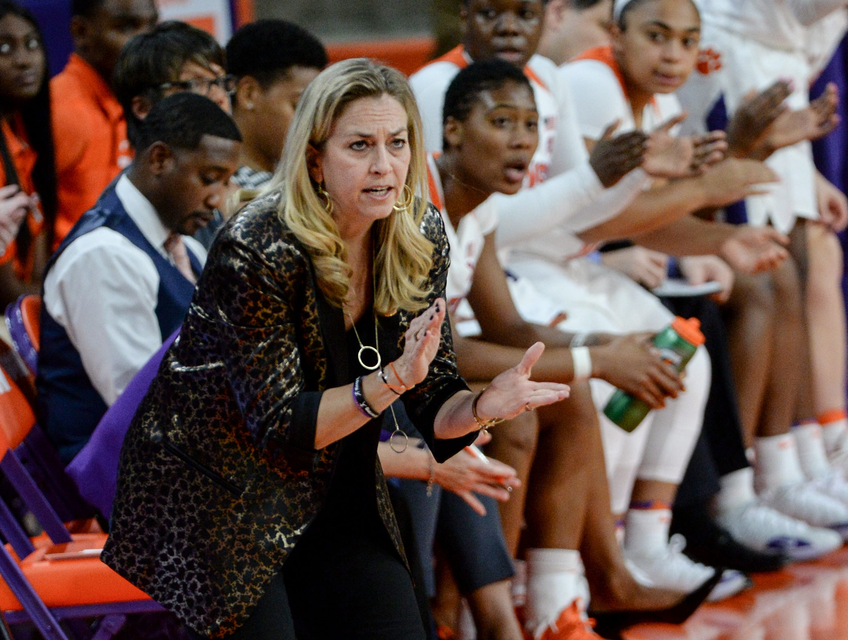 Clemson Head Coach Amanda Butler communicates with her team playing Georgia Tech during the first quarter at Littlejohn Coliseum in Clemson Thursday, January 17, 2019.