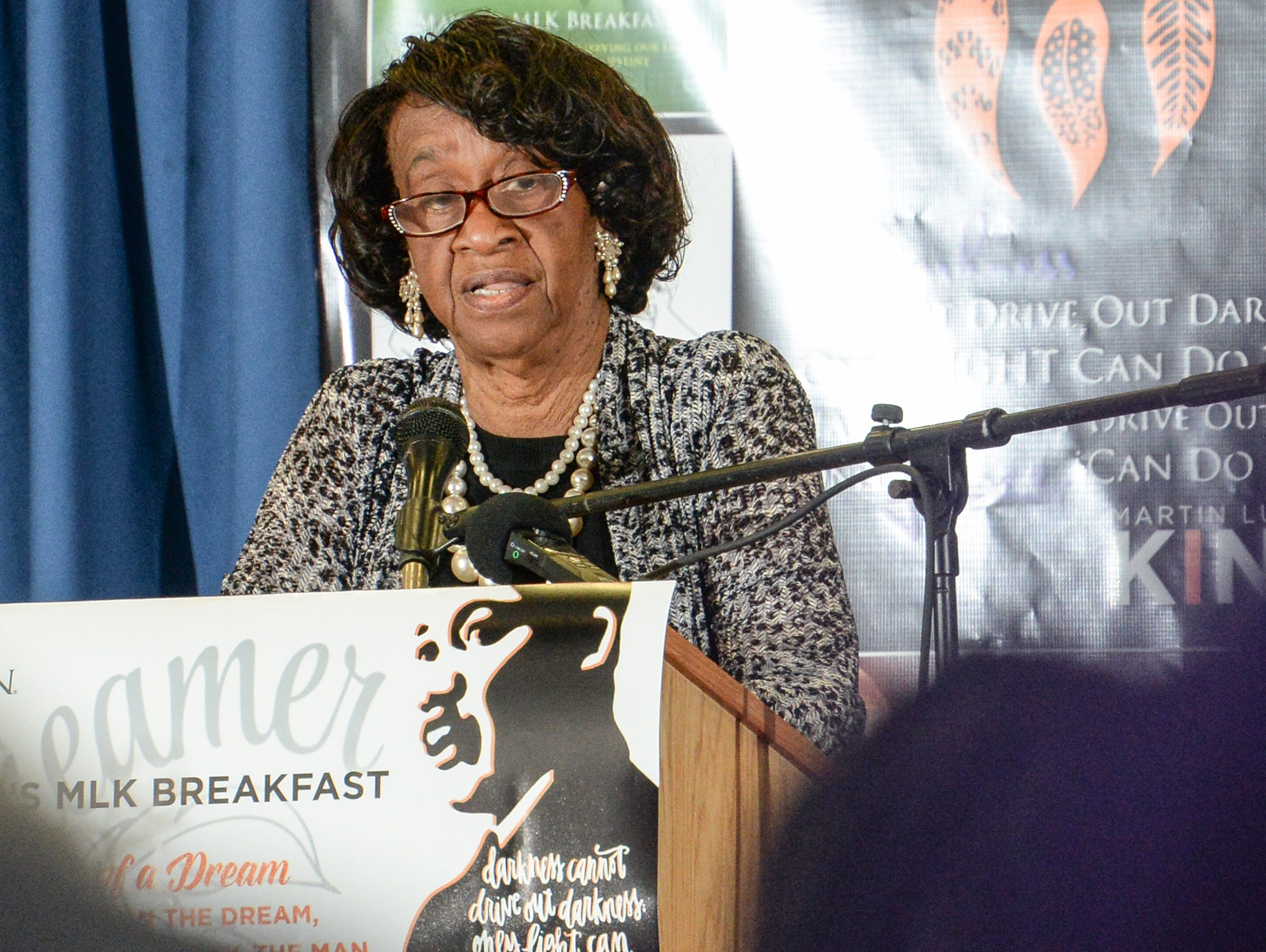 Mayor Pro Tem Beatrice Thompson speaks during the Mayor's Martin Luther King Jr Breakfast in the Anderson Civic Center Friday, January 18, 2019.