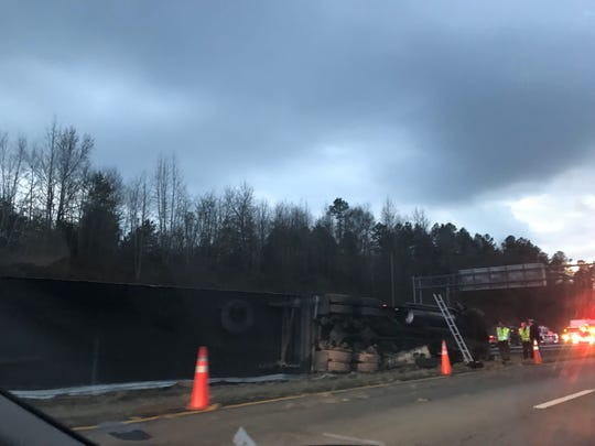 A tractor-trailer has flipped over, backing up traffic on Interstate 85 in Walhalla.