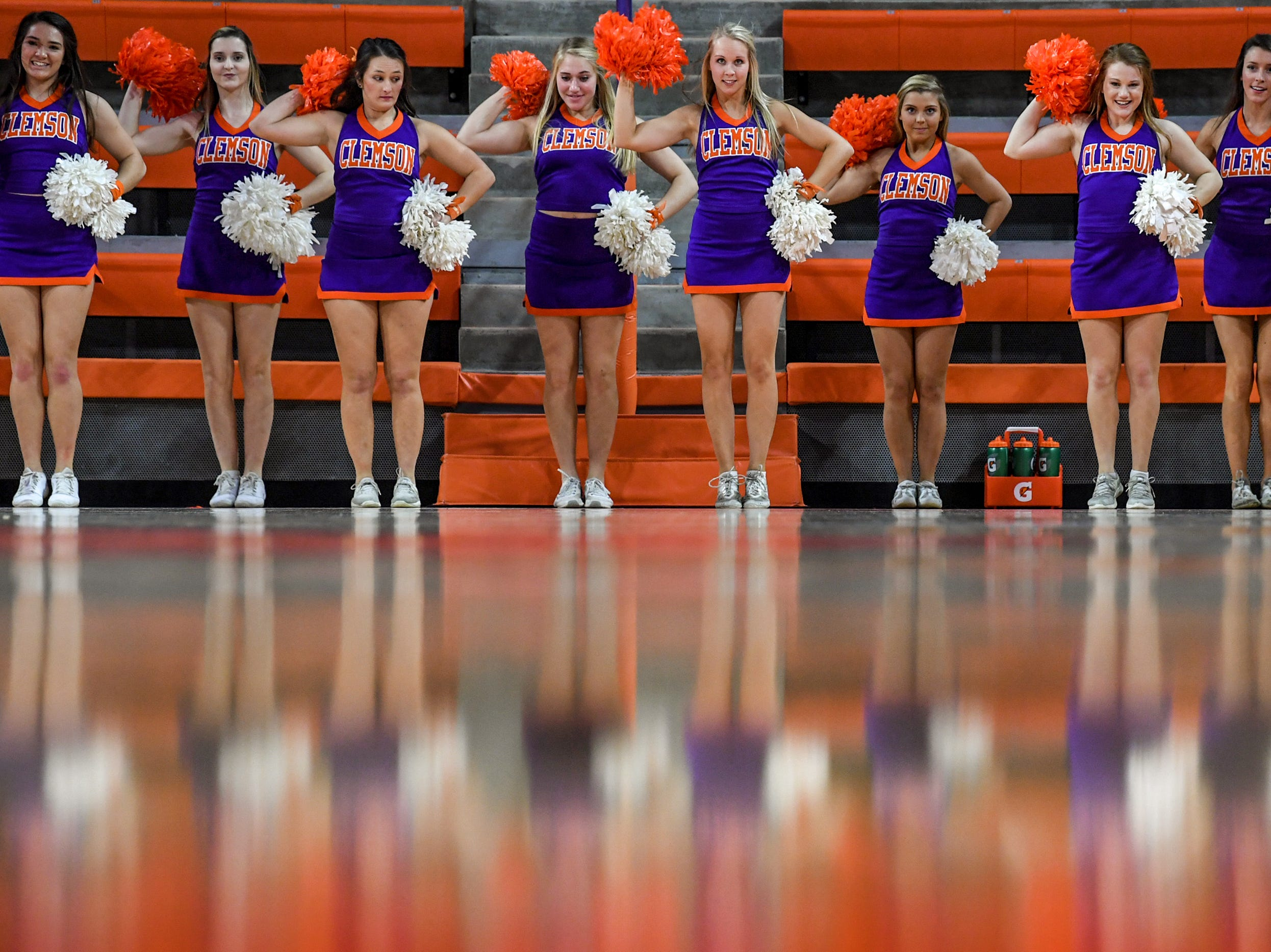 Clemson cheerleaders during the fourth quarter at Littlejohn Coliseum in Clemson Thursday, January 17, 2019.