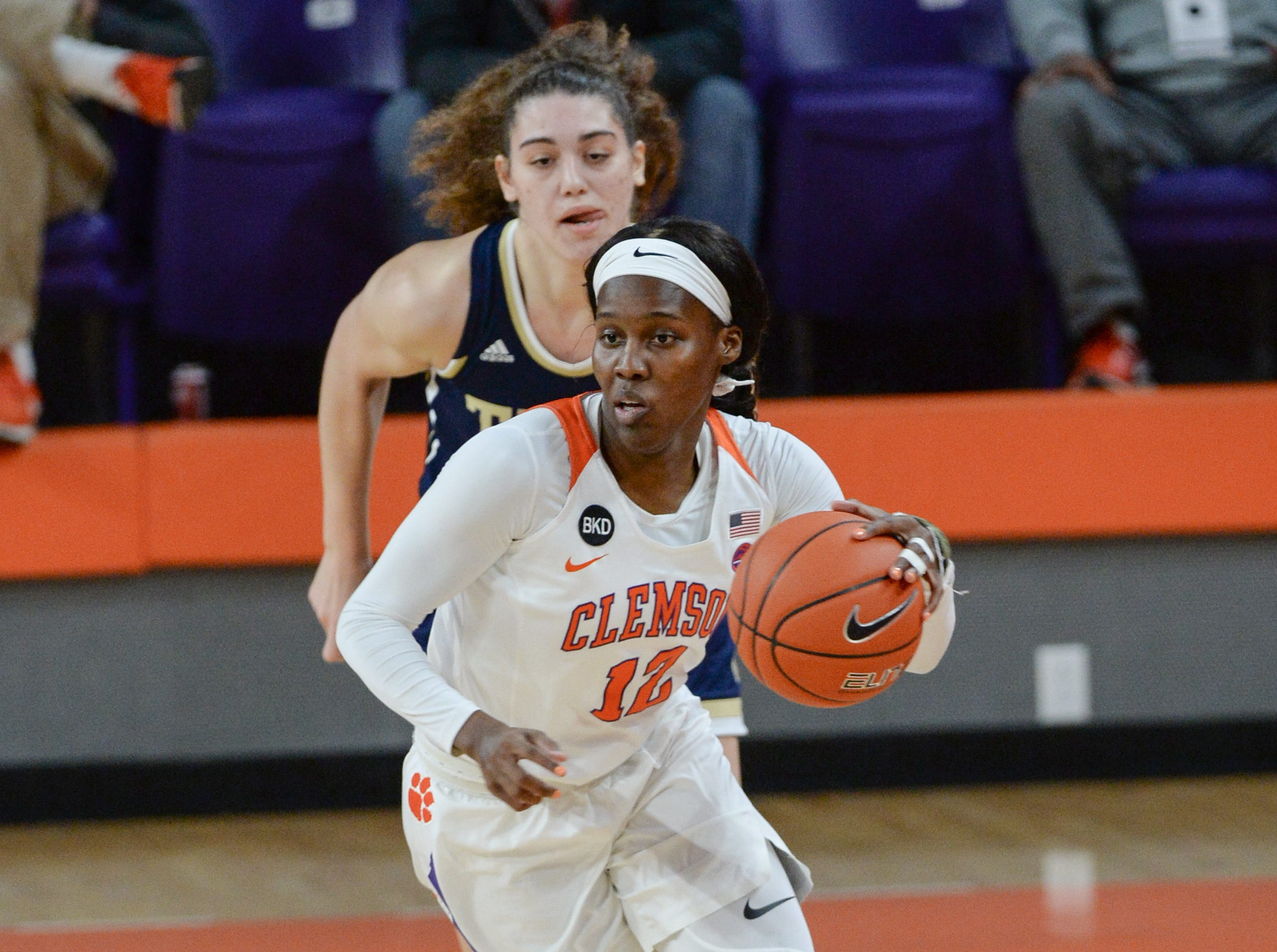 Clemson guard Aliyah Collier(12) dribbles up court during the second quarter of the game with Georgia Tech at Littlejohn Coliseum in Clemson Thursday, January 17, 2019.