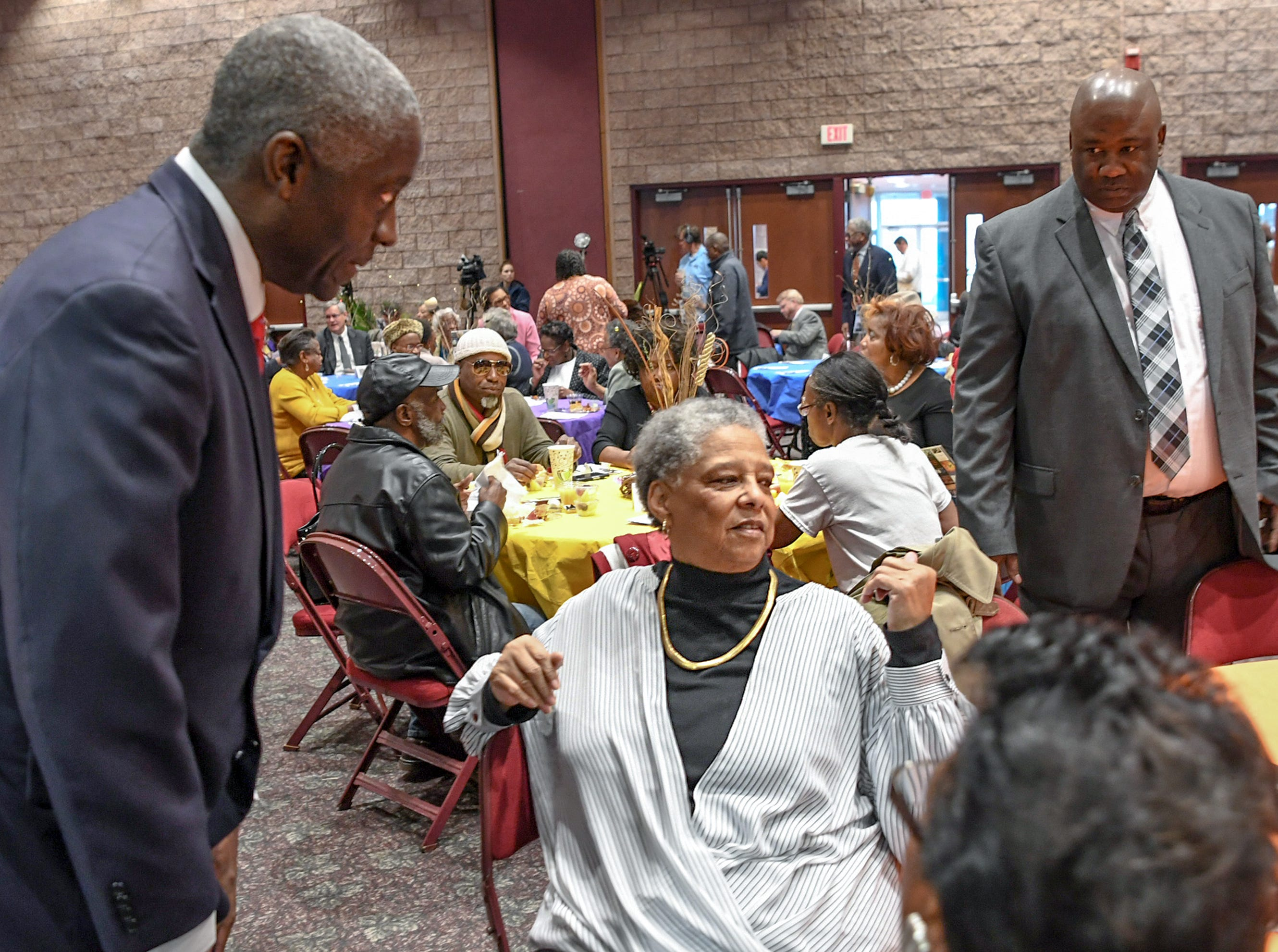 Mayor Terence Roberts, left, Gracie Floyd, and Gregory Floyd, right, before the Mayor's Martin Luther King Jr Breakfast in the Anderson Civic Center Friday, January 18, 2019. Gregory Floyd accepted the Trailblazer award in honor of his late father William A. Floyd, who passed away in 1999. William Floyd served on the Anderson County Council chairman.