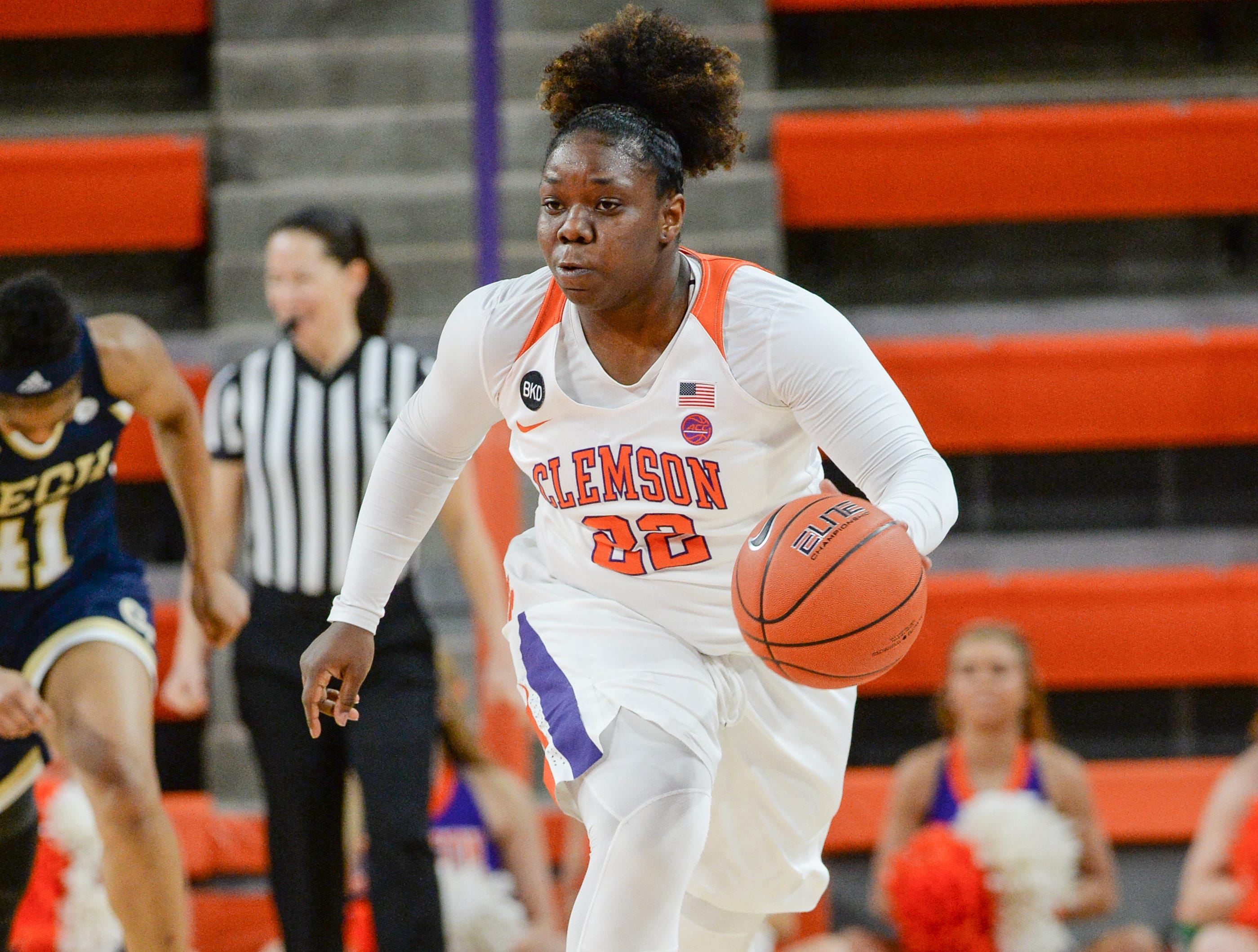 Clemson guard Keniece Purvis(22) dribbles playing Georgia Tech during the fourth quarter at Littlejohn Coliseum in Clemson Thursday, January 17, 2019.