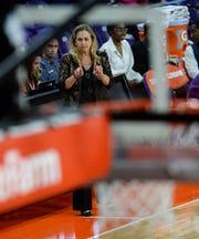 Clemson Head Coach Amanda Butler during the first quarter at Littlejohn Coliseum in Clemson Thursday, January 17, 2019.