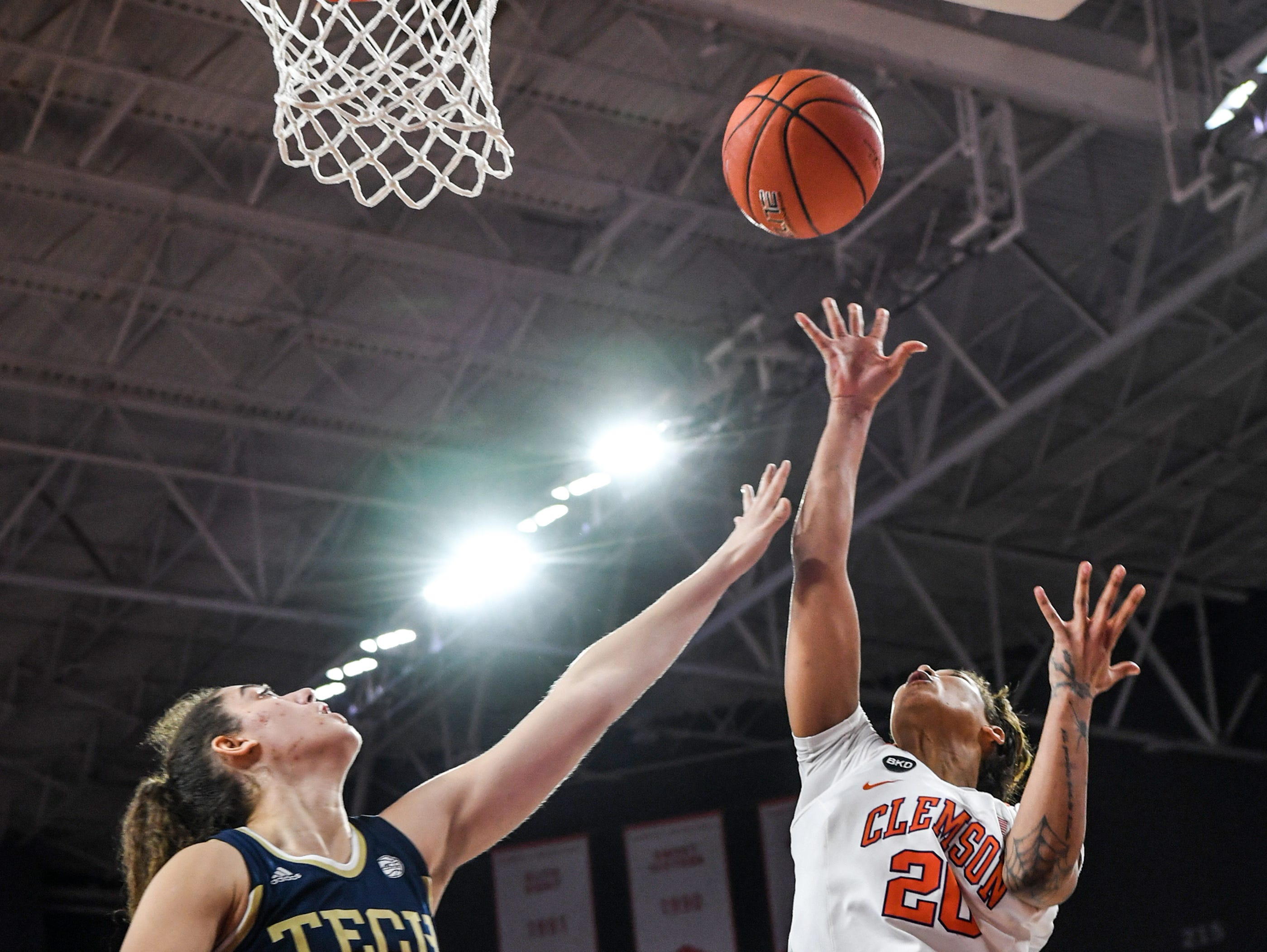 Clemson guard Simone Westbrook(20) shoots near Georgia Tech forward Lorela Cubaj(13) during the fourth quarter at Littlejohn Coliseum in Clemson Thursday, January 17, 2019.
