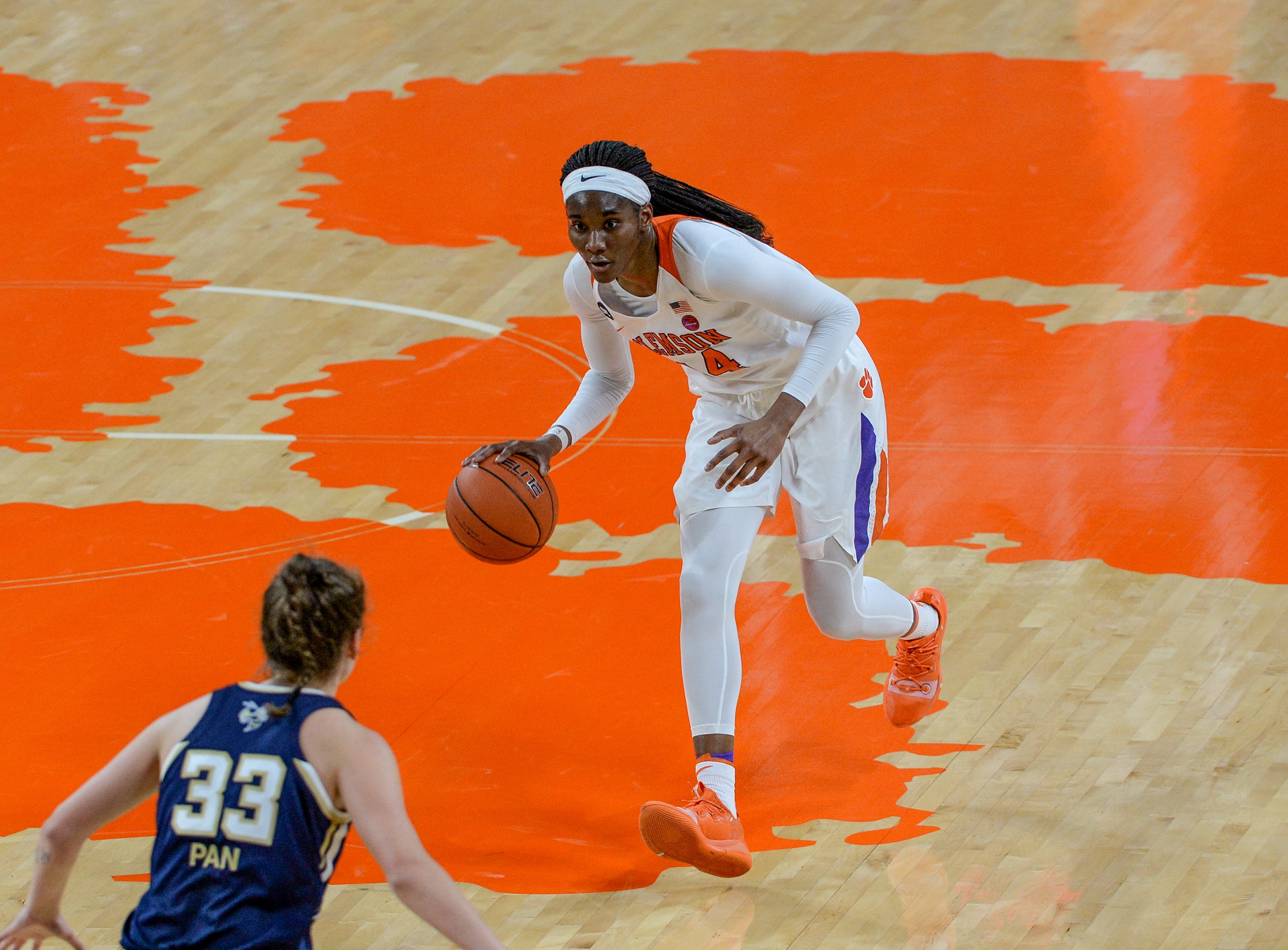 Clemson center Kobi Thornton(44) brings the ball up court against Georgia Tech during the first quarter at Littlejohn Coliseum in Clemson Thursday, January 17, 2019.
