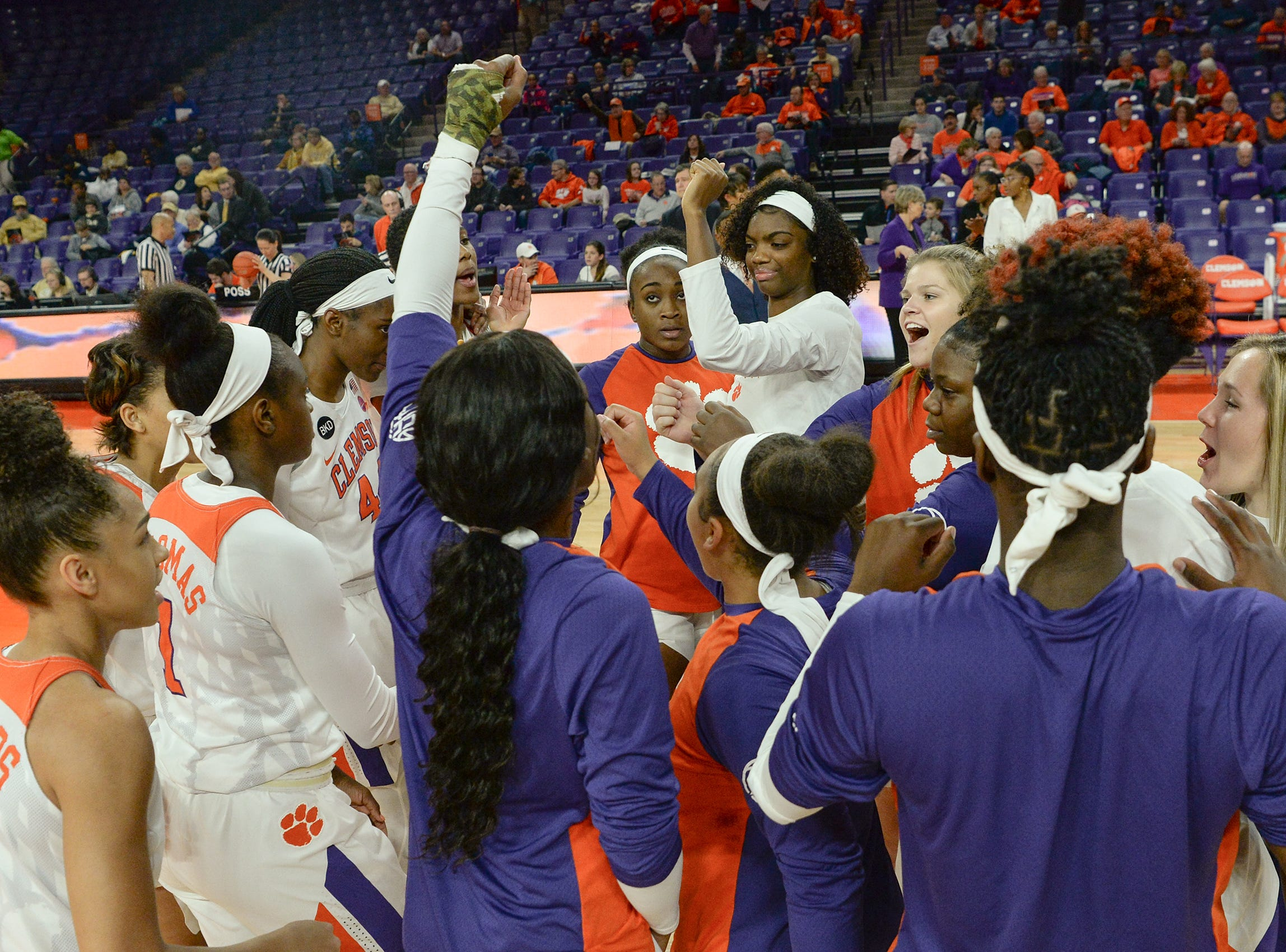 Clemson player gather before the first half of the Clemson and Georgia Tech women's game at Littlejohn Coliseum in Clemson Thursday, January 17, 2019. Clemson won 71-61.